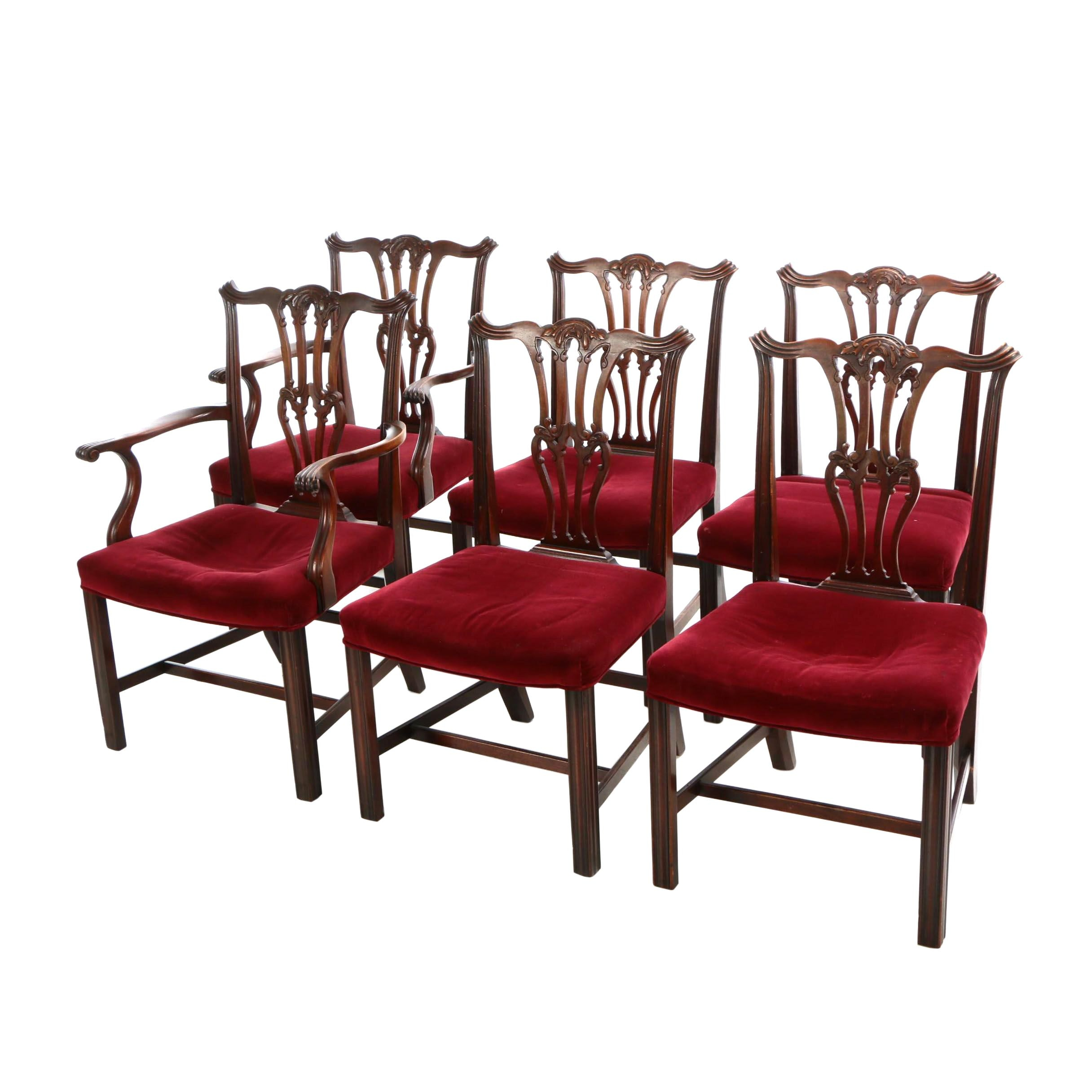 Six George III Style Carved Mahogany Dining Chairs, 20th Century