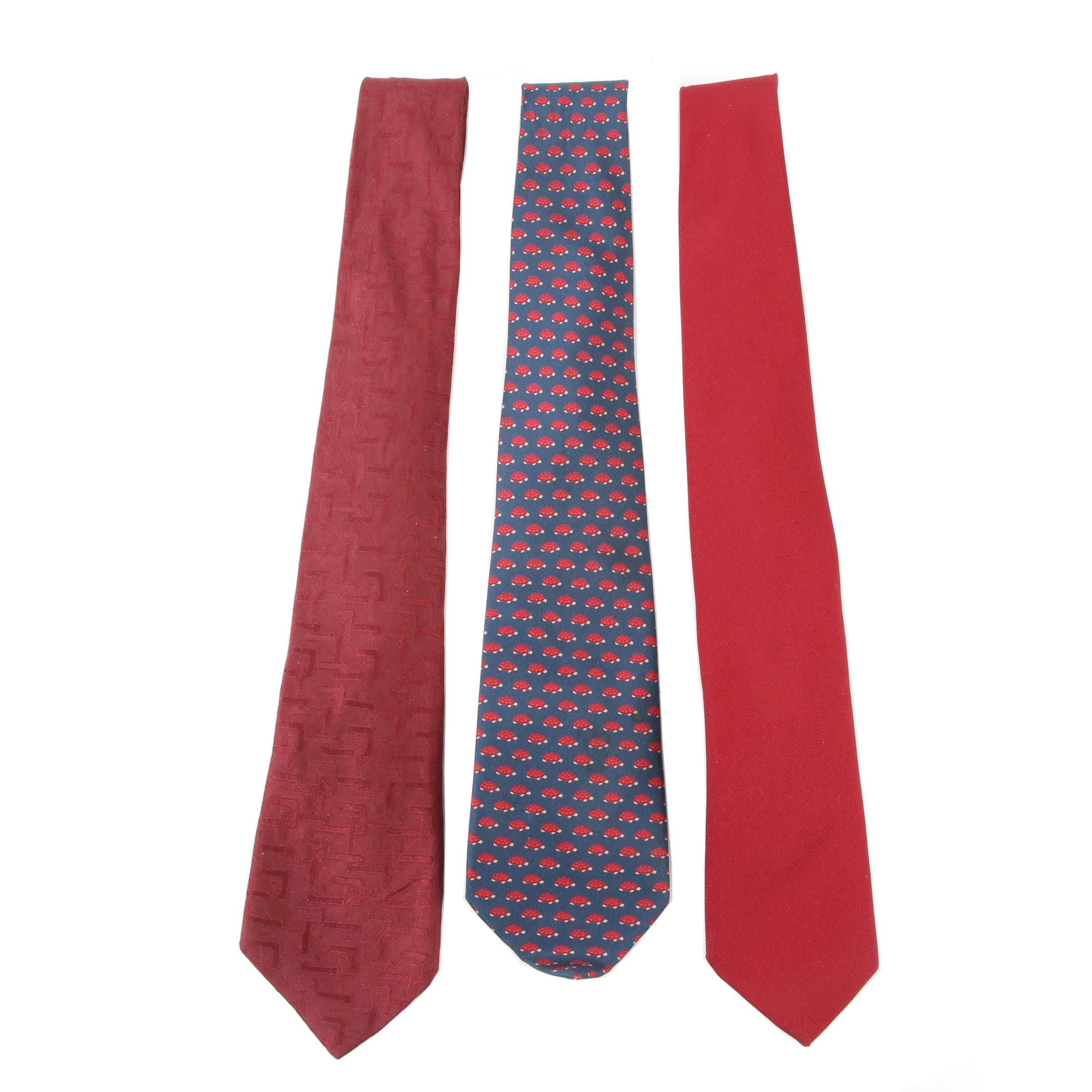 Men's Gucci Silk and Givenchy Silk Blend Neckties, Late 20th Century