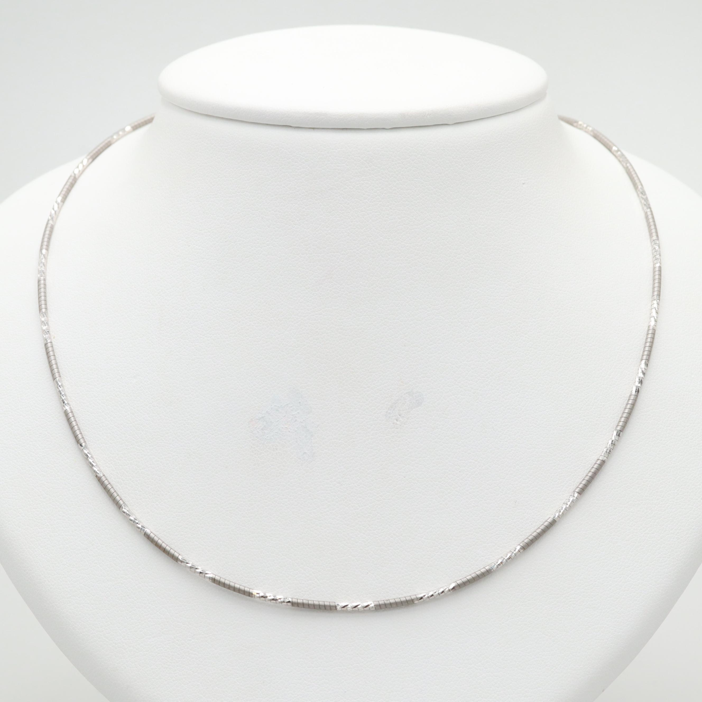 Sterling Silver Necklace with Diamond Cut Accents