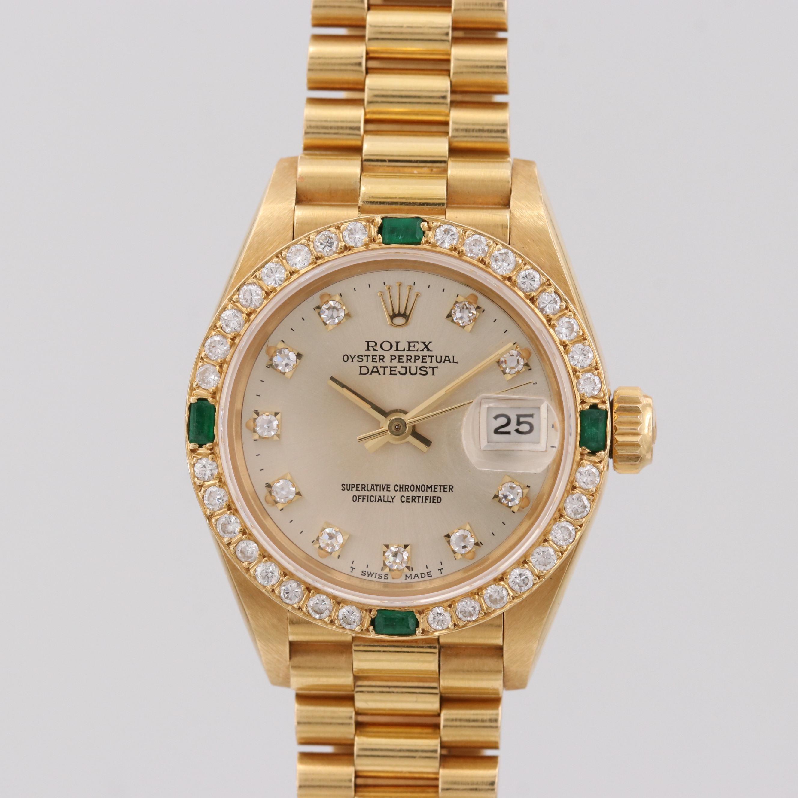 Rolex Datejust 18K Yellow Gold, Diamond and Emerald Automatic Wristwatch, 1986