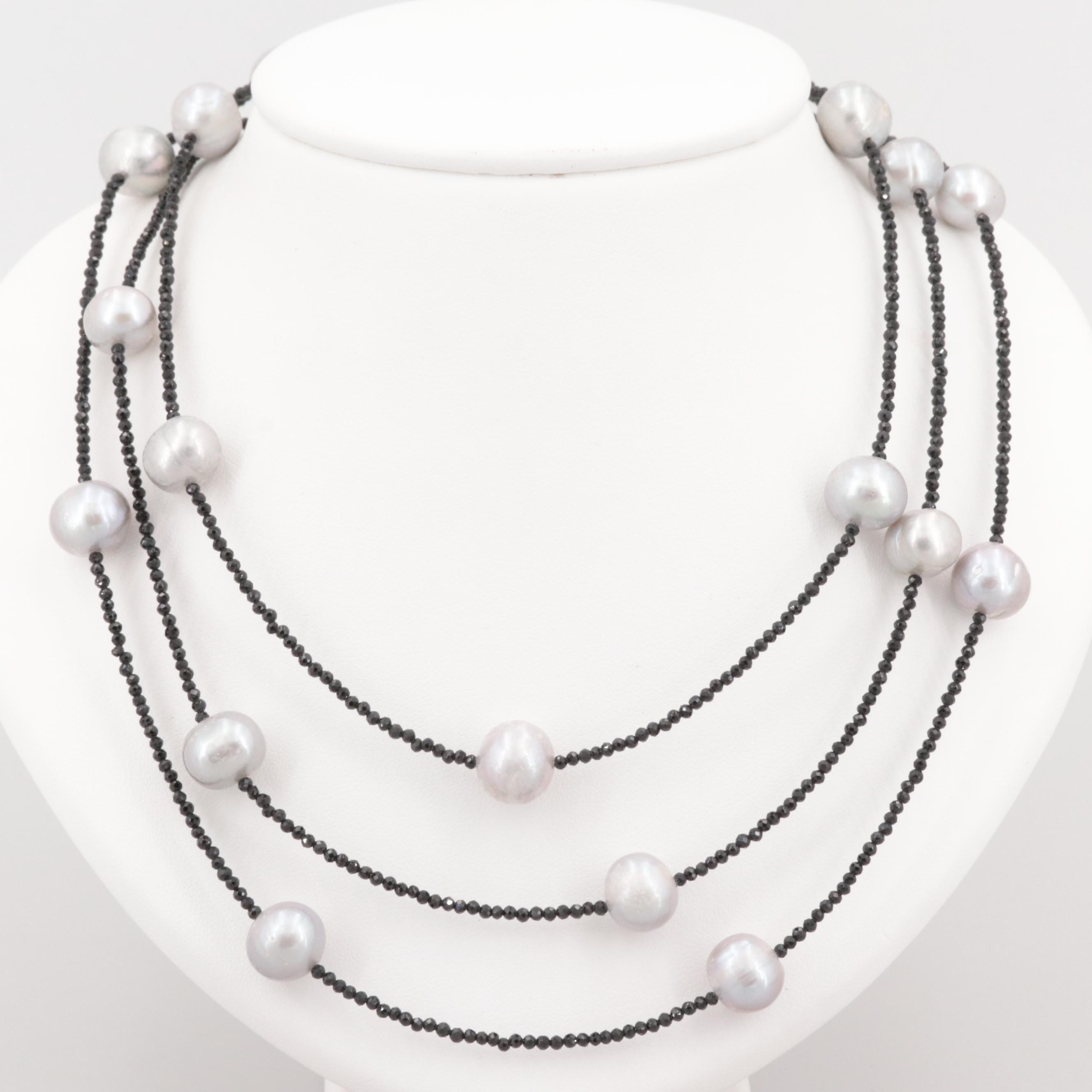 Sterling Cultured Pearl and Synthetic Spinel Triple Strand Necklace