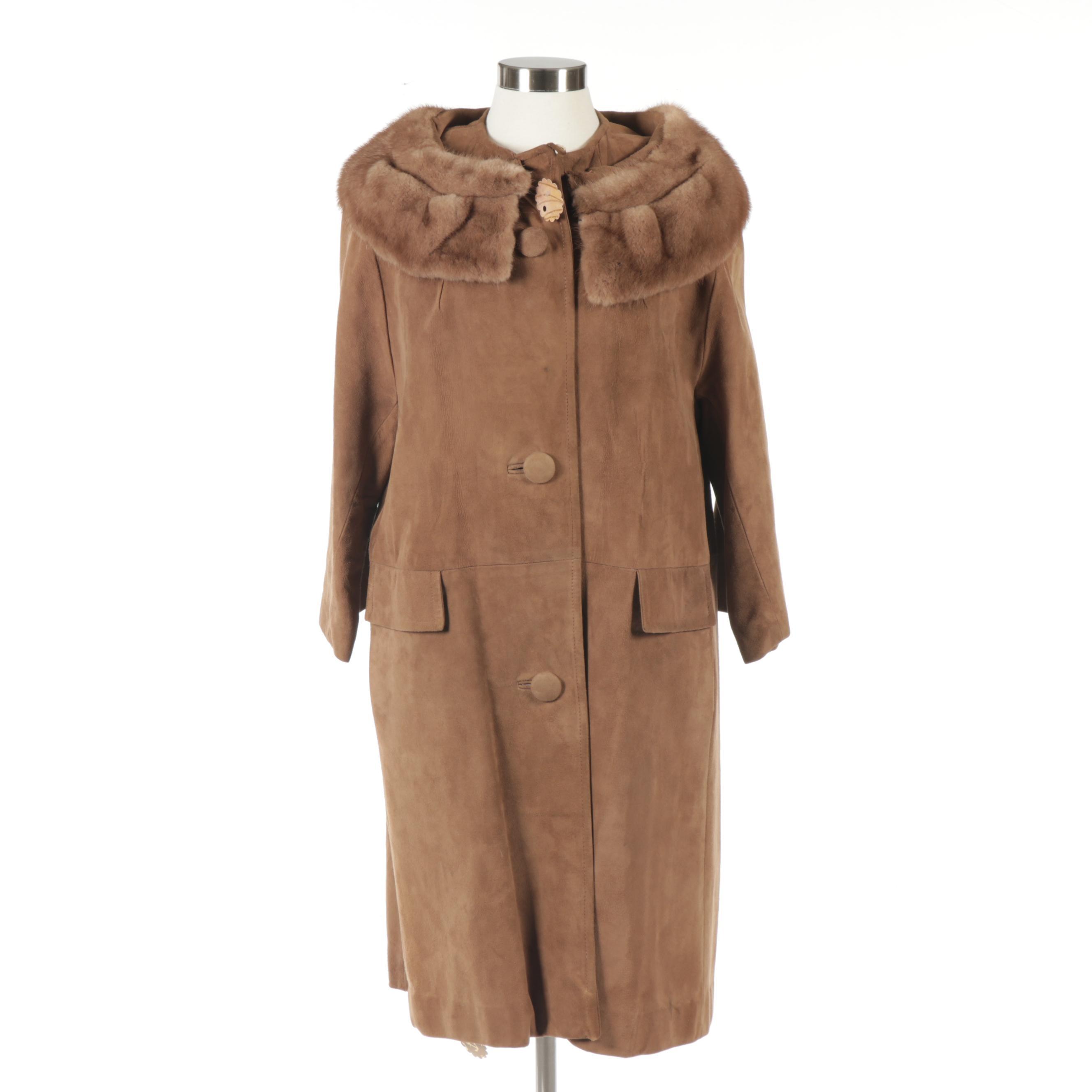 Women's Suede Coat with Mink Fur Collar, Vintage
