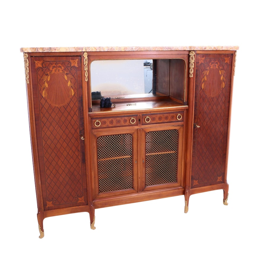 Louis XV Style Gilt-Metal Mounted, Marquetry, and Variegated Marble Side Cabinet