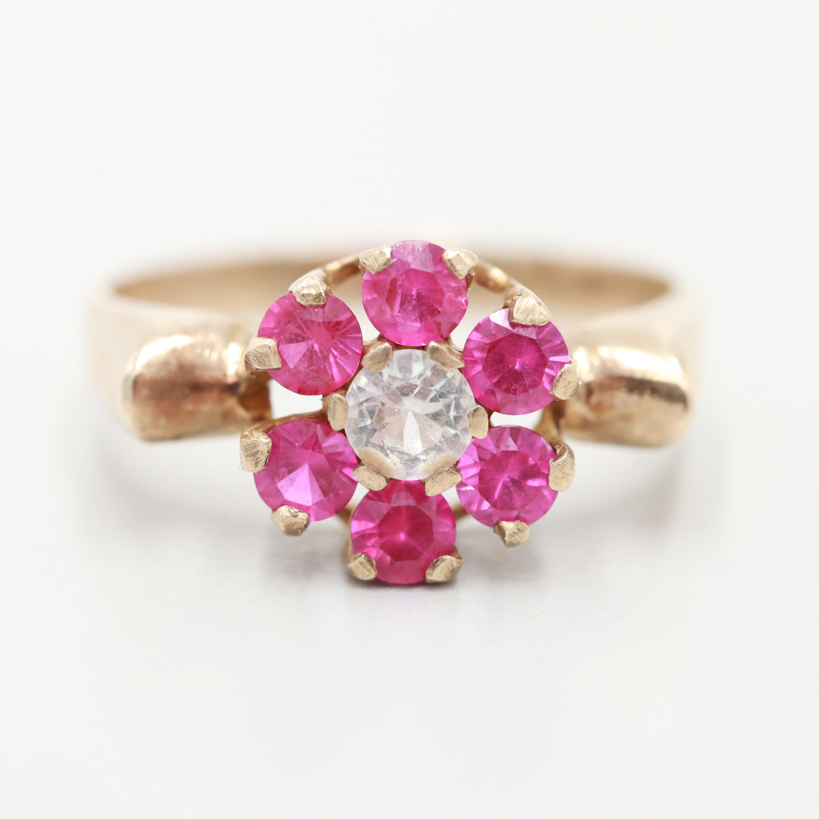 14K Yellow Gold White Synthetic Spinel and Synthetic Ruby Floral Ring