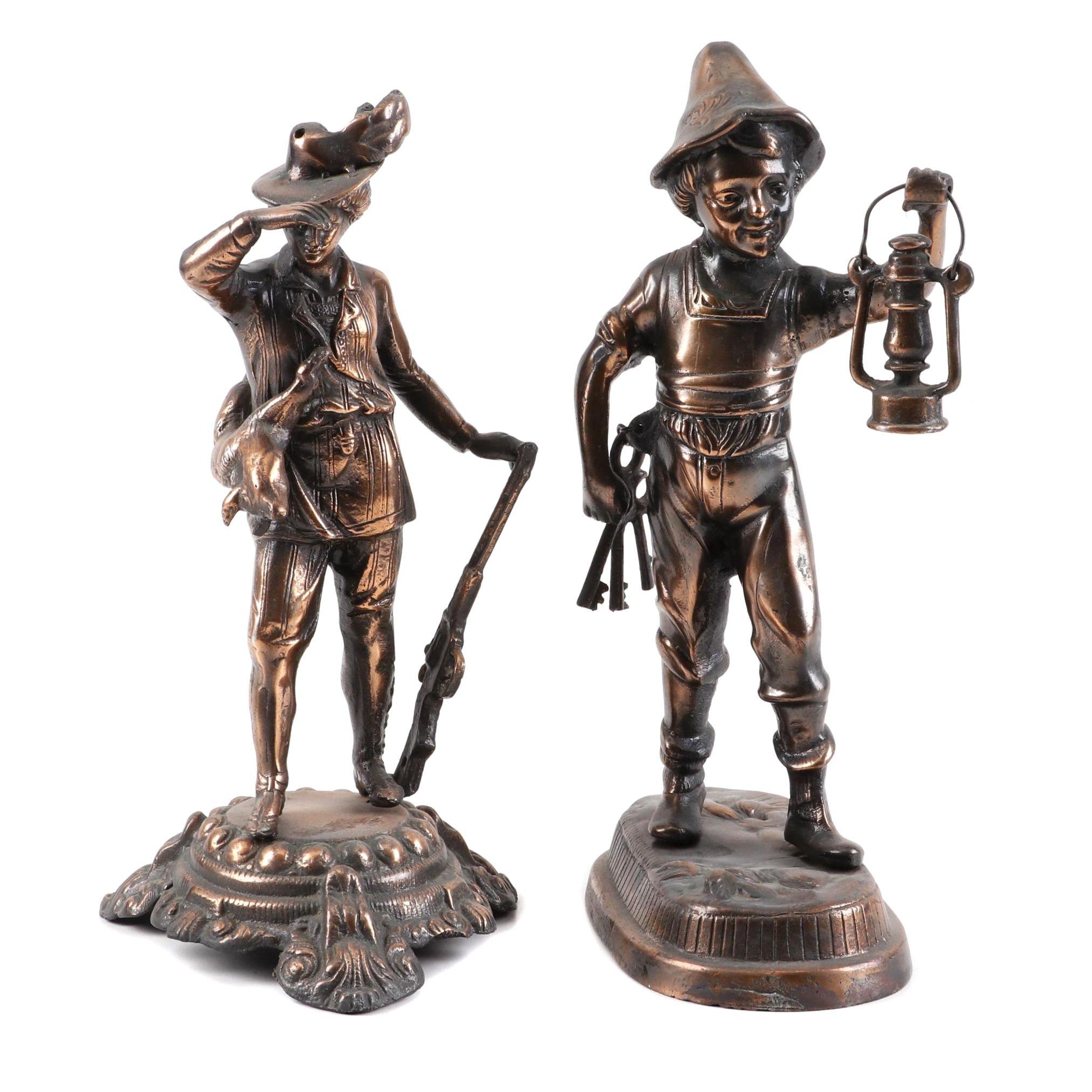 Cast Metal Copper Finish Figurines, Mid 20th Century