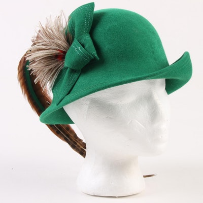 95560bad9761f2 Adolfo New York Cloche with Feather Accents in Green Excello Wool, Circa  1970
