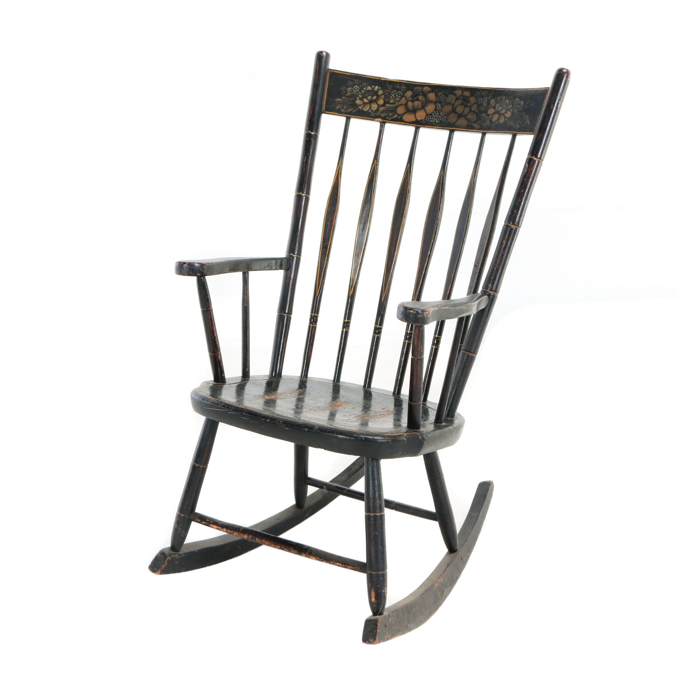 American Grain-Painted and Gilt-Stenciled Rocking Armchair, 19th Century