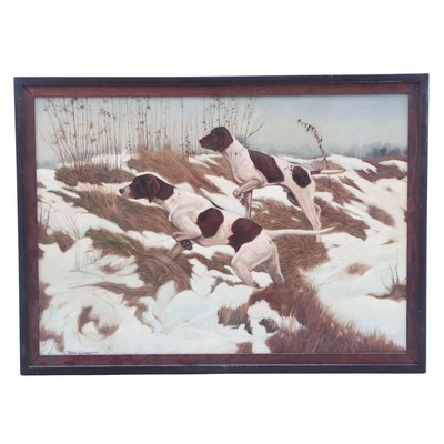 English Pointers in Winter Landscape Oil Painting
