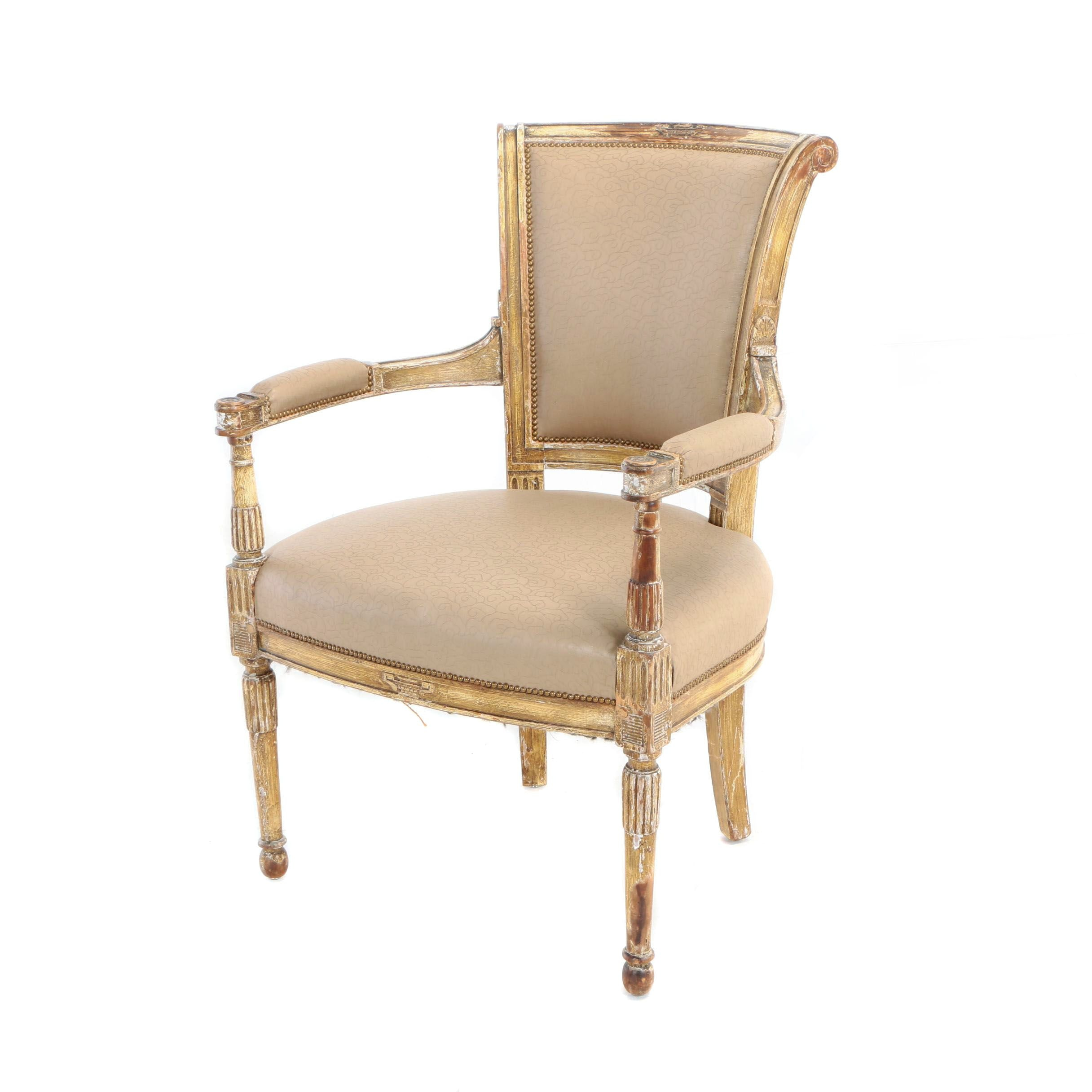 Louis XVI Style Painted and Carved Beech Fauteuil, Late 19th/Early 20th Century