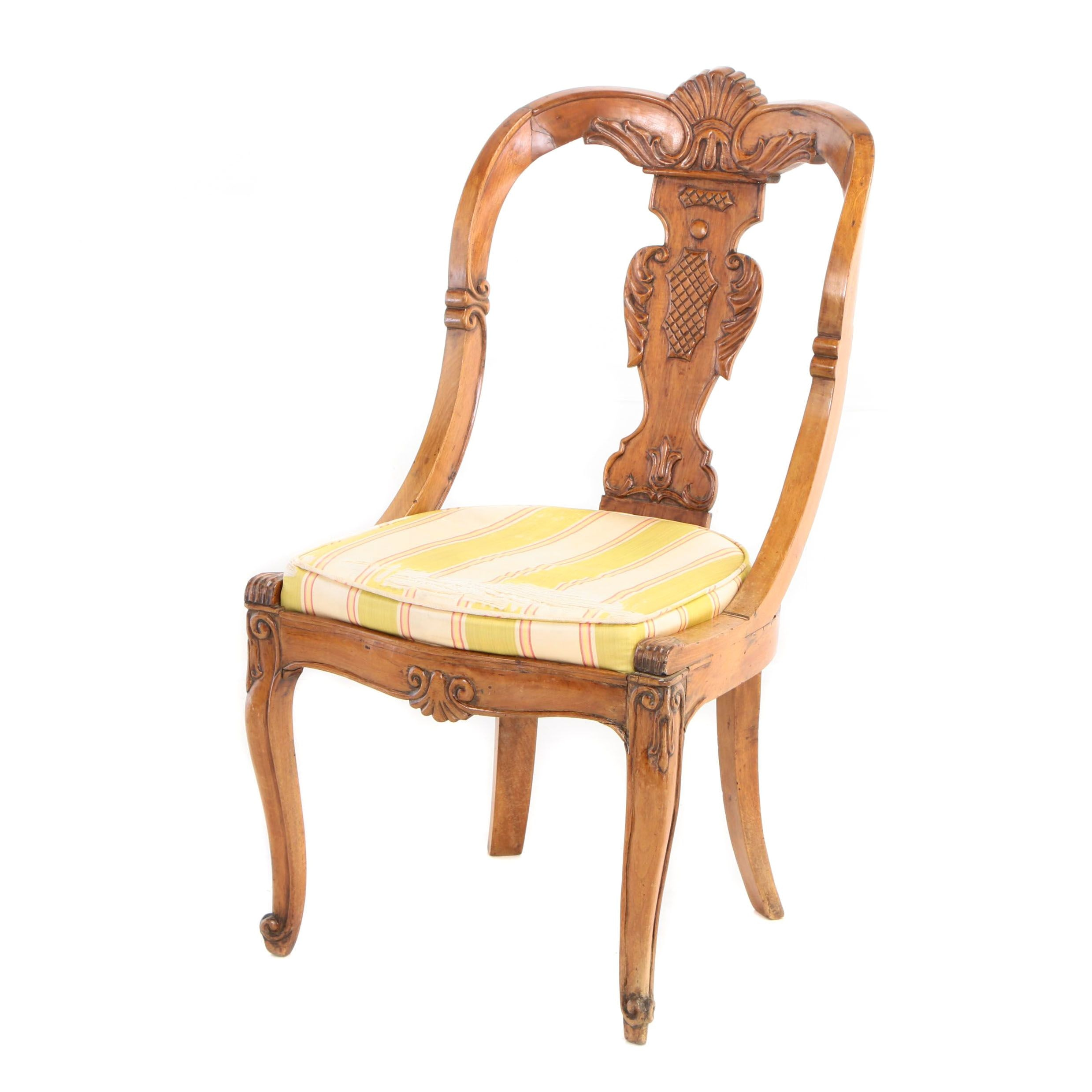 Louis XV Style Carved Walnut Side Chair, Possibly Italian, Early 20th Century