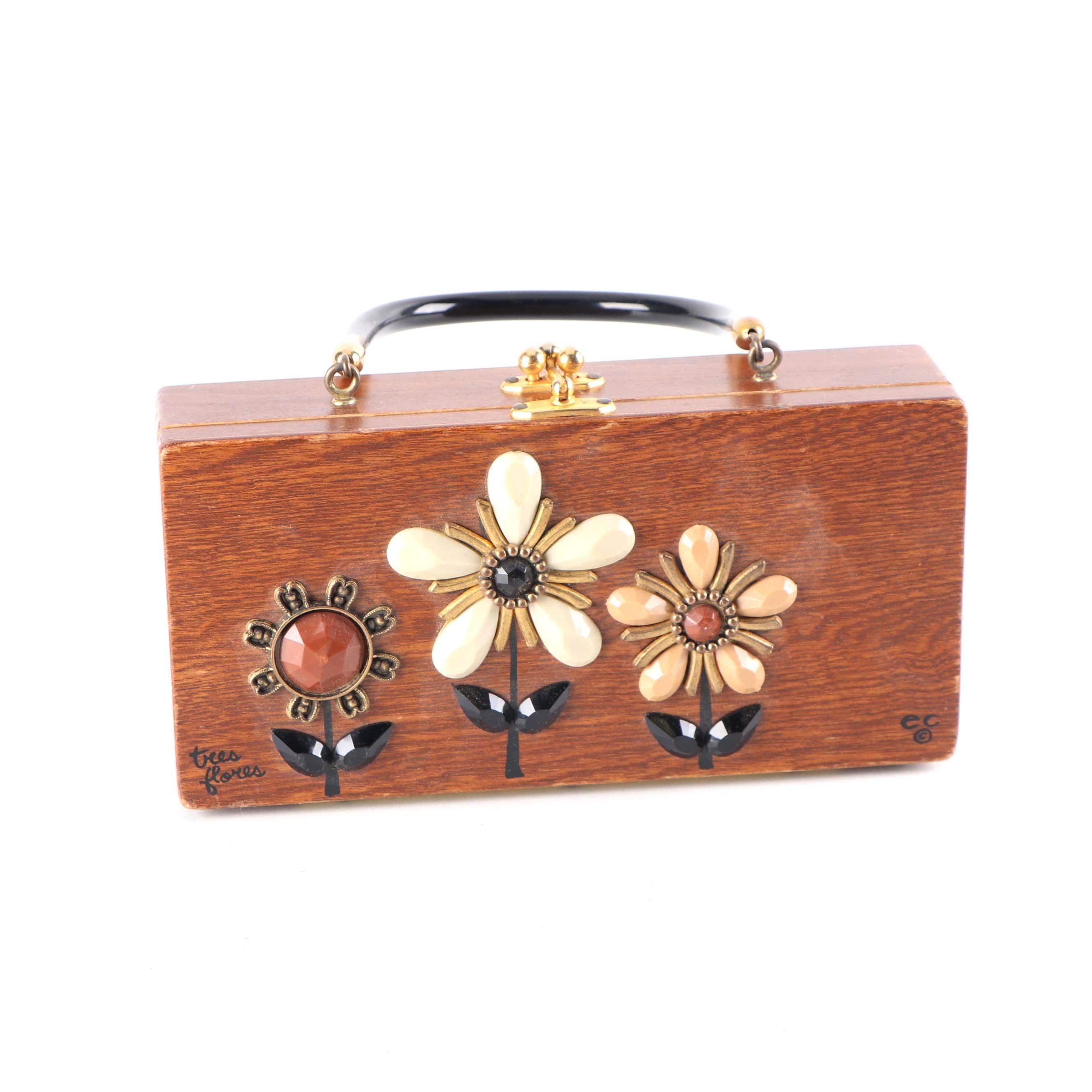 "Enid Collins of Texas ""Tres Flores"" Wooden Box Purse, 1960s Vintage"