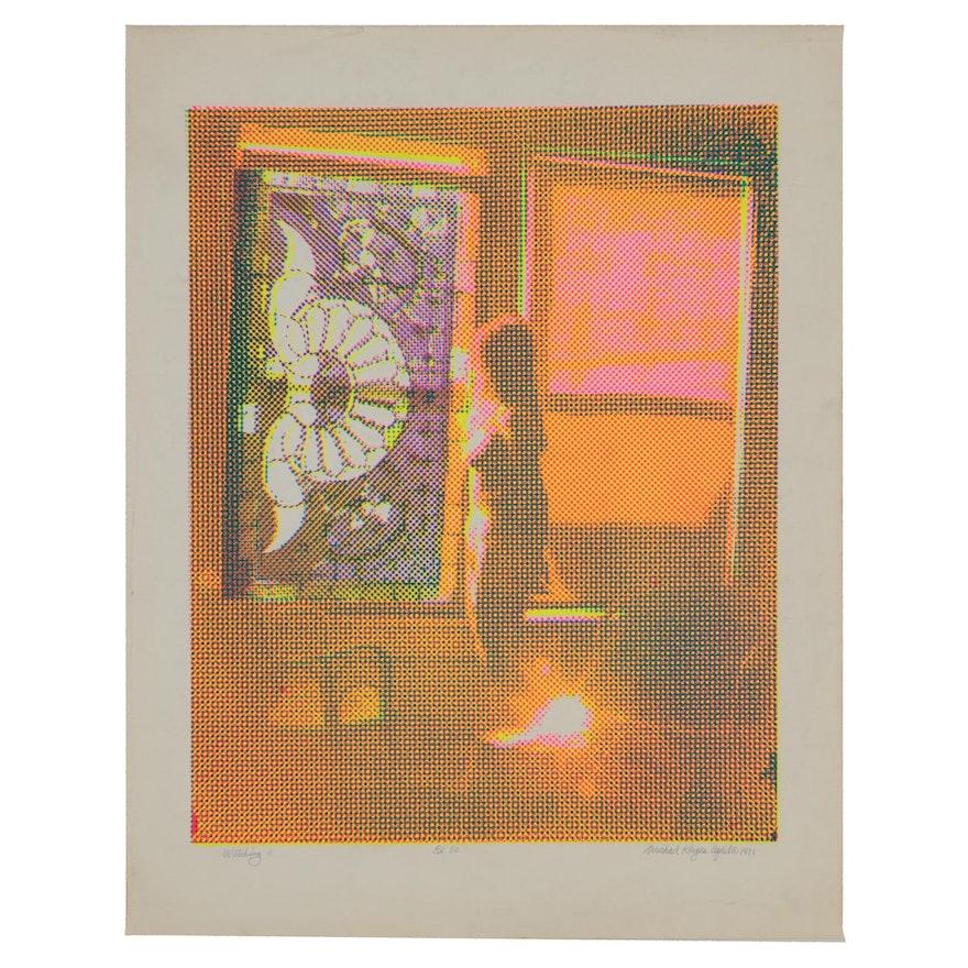 """Michael Keyes 1971 Serigraph """"Watching"""""""