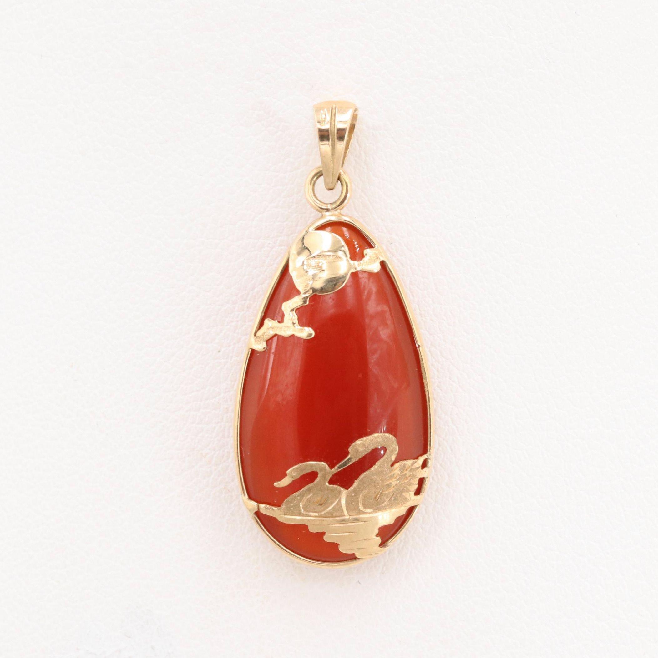 Chinese 14K Yellow Gold Carnelian Pendant
