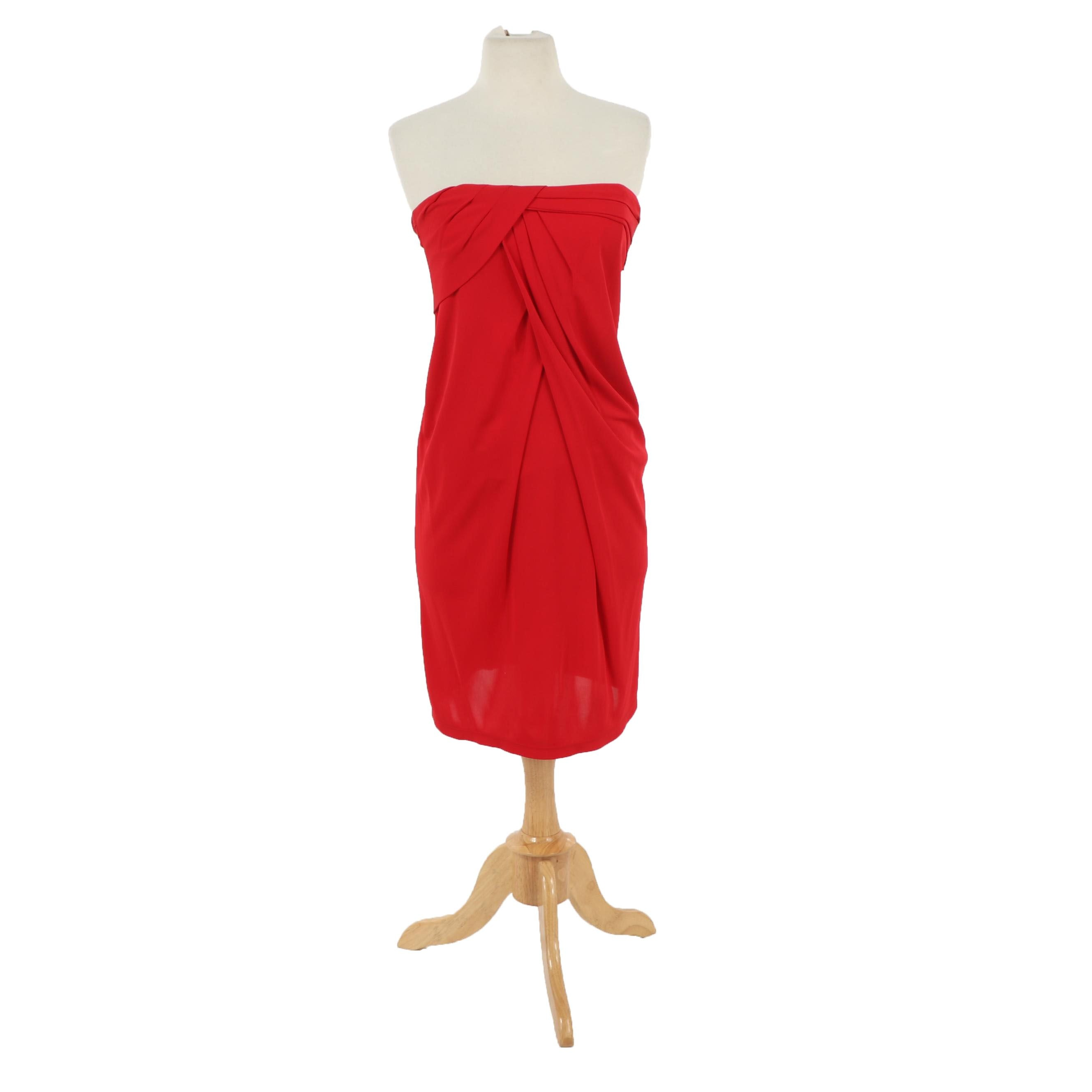 David Meister Red Strapless Cocktail Dress