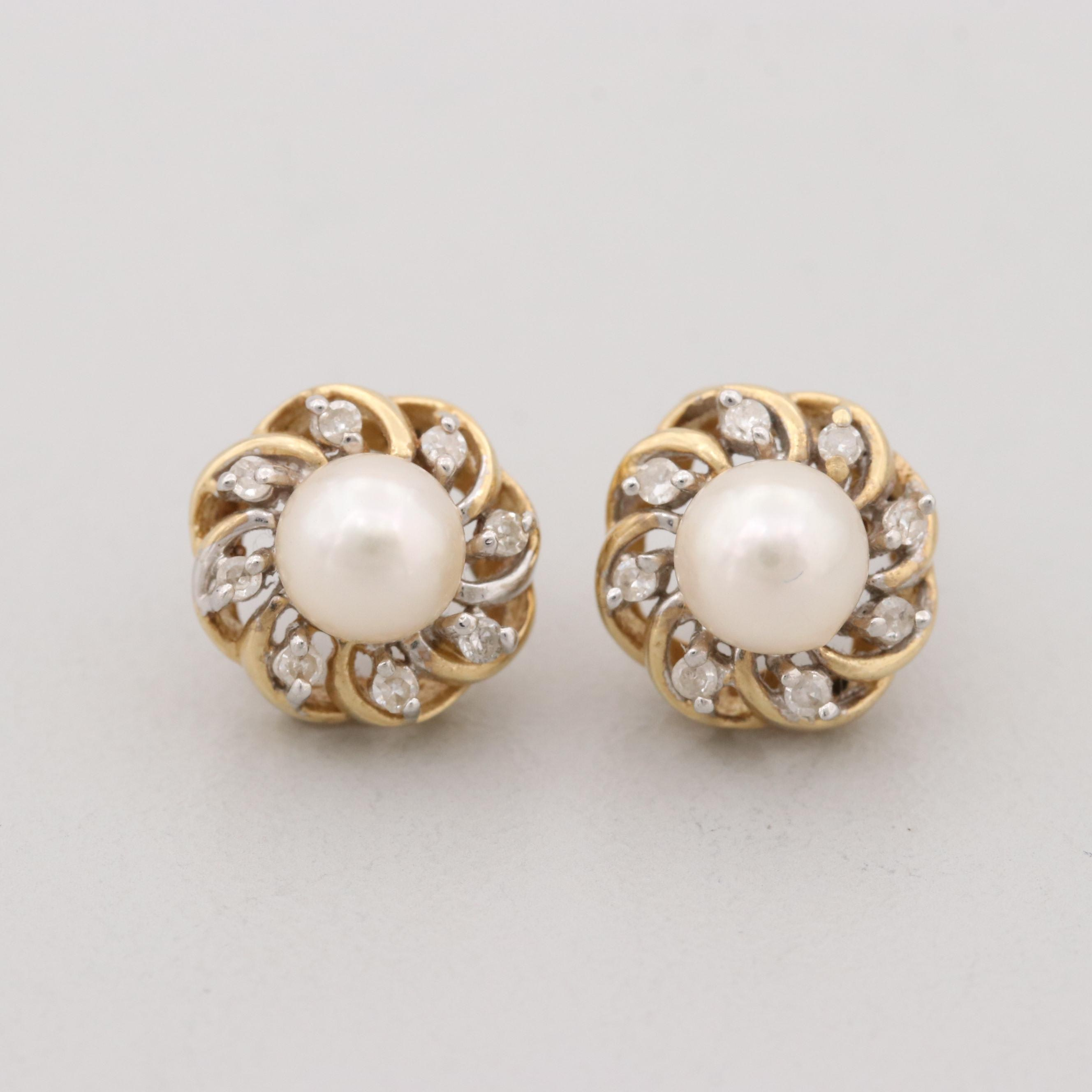 14K Yellow Gold Cultured Pearl and Diamond Stud Earrings