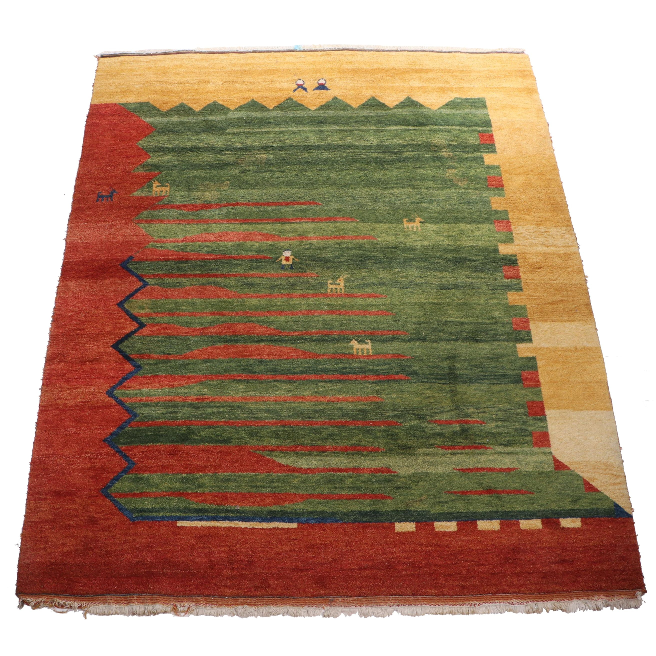 Hand-Knotted Pakistani Persian Gabbeh Wool Room Sized Rug