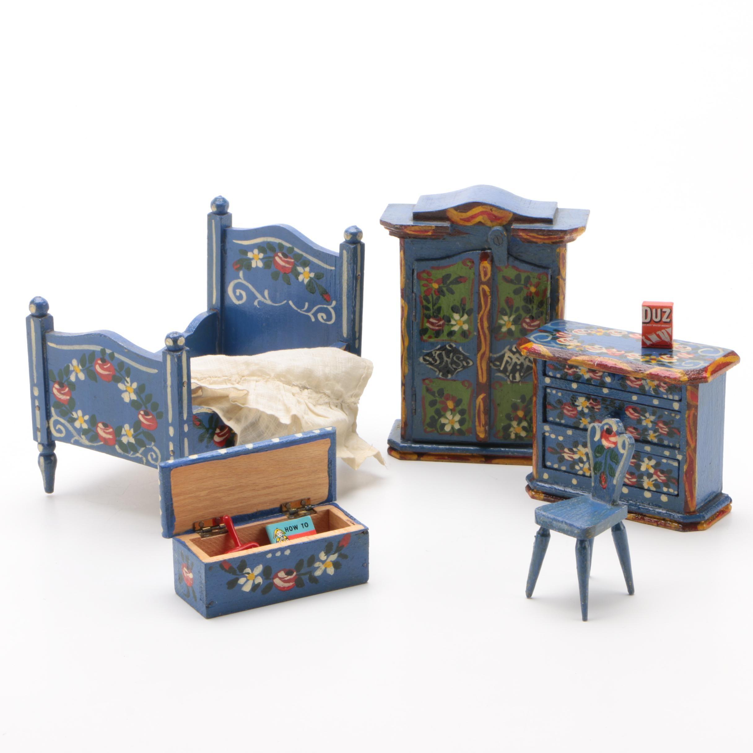 Hand-Painted Miniature Bedroom Set