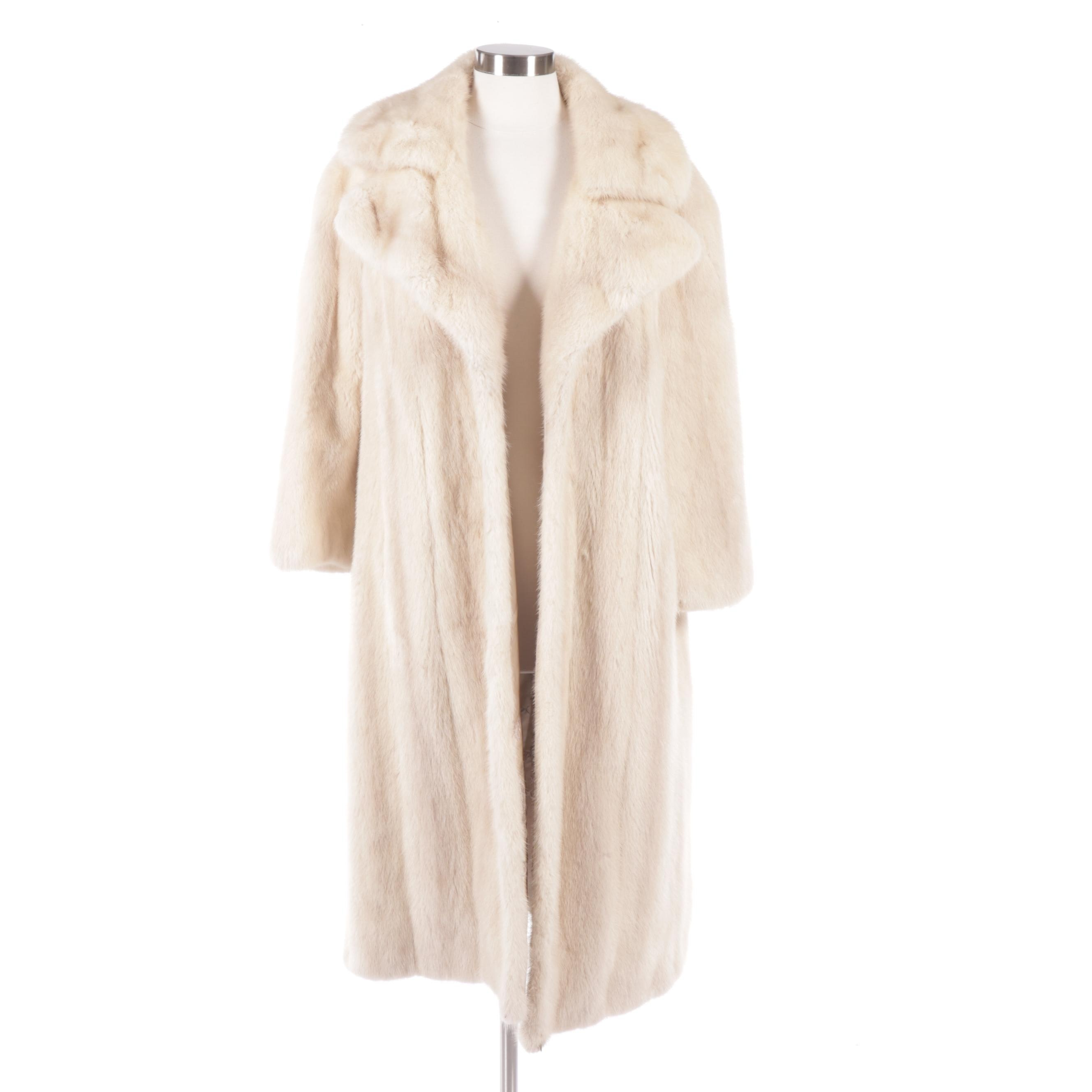 Women's Mink Fur Coat with Wide Notched Lapel and Embroidered Lining, Vintage