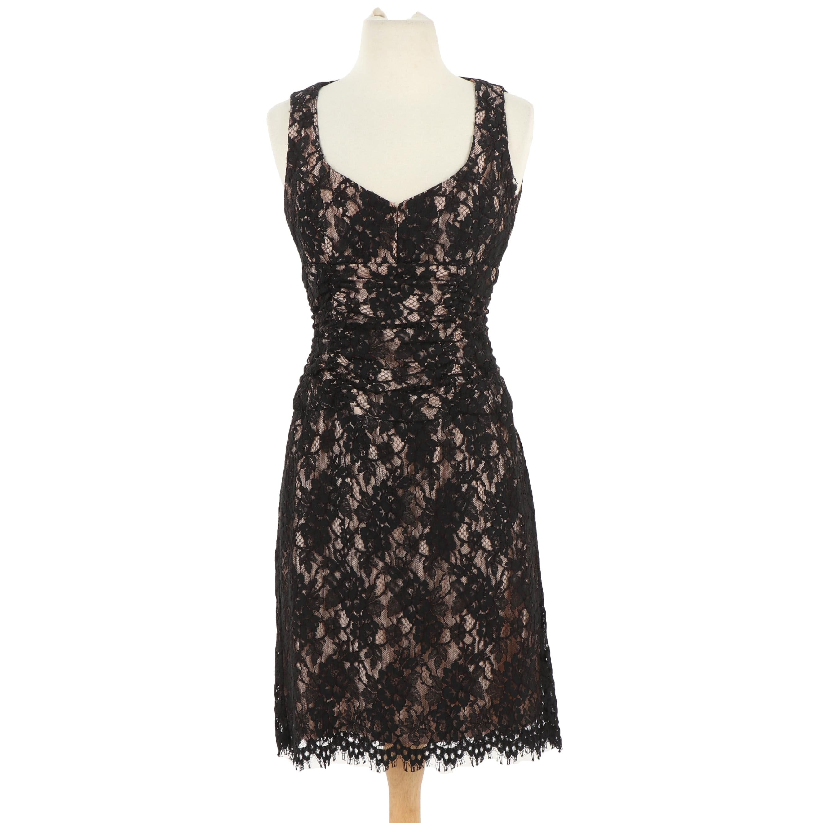 Nanette Lepore Black Lace Sleeveless Cocktail Dress