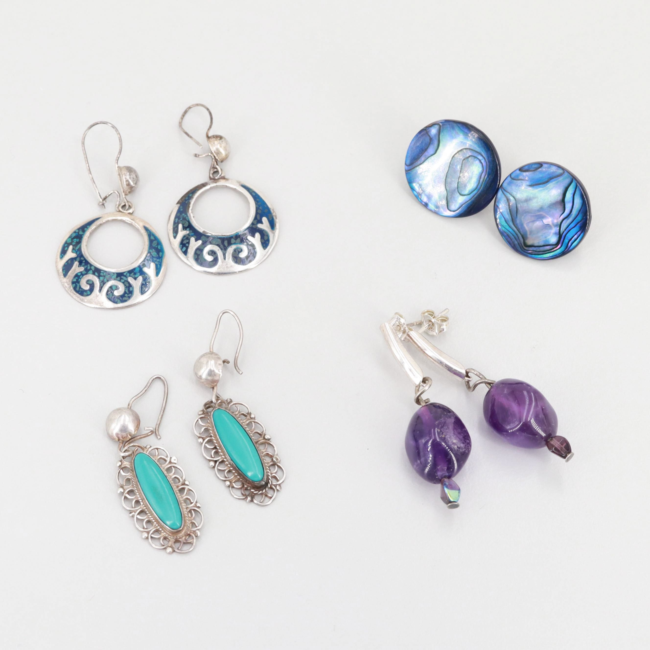 Sterling Silver Amethyst, Turquoise, and Abalone Earrings