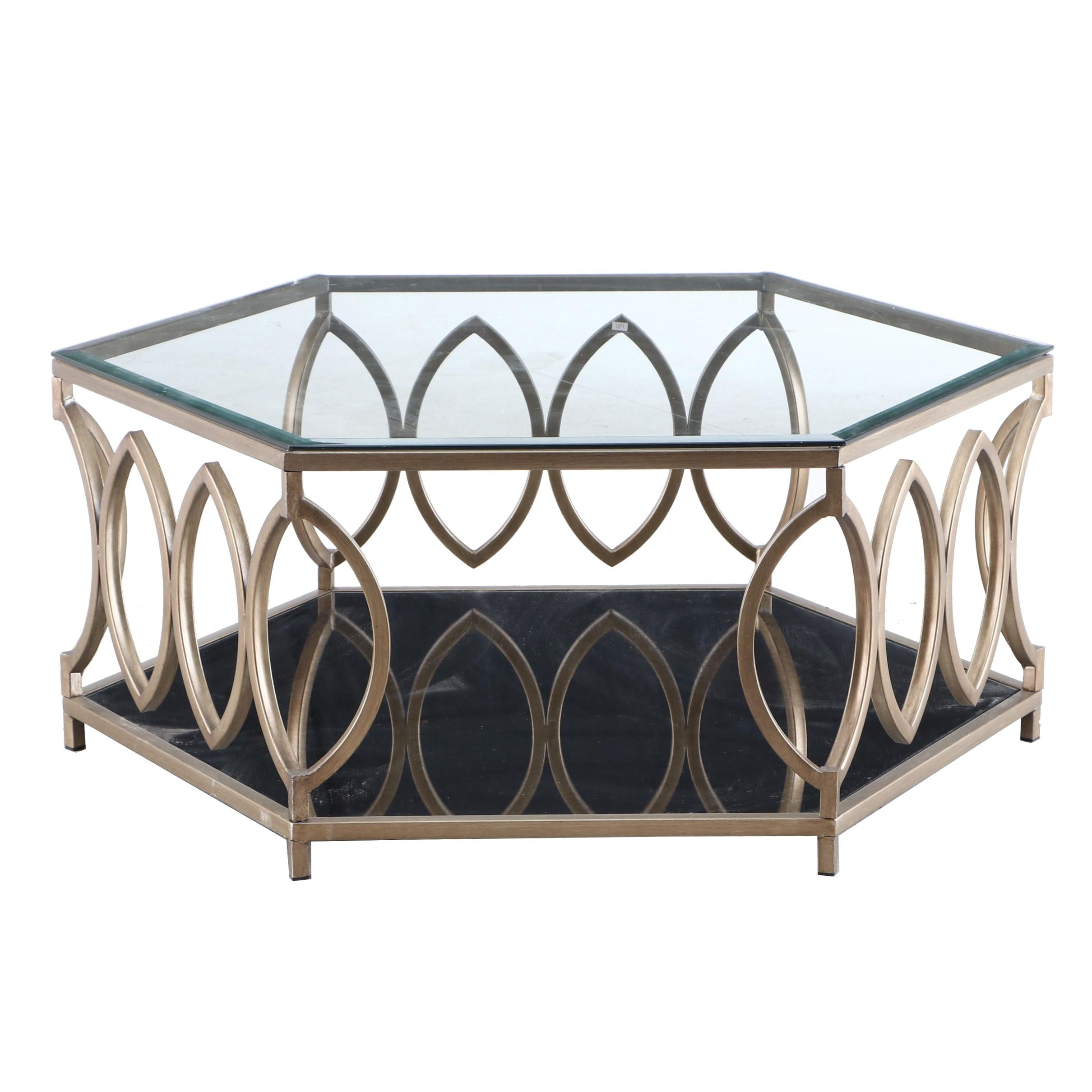 Contemporary Hexagonal Bronze-Tone Metal and Glass Coffee Table