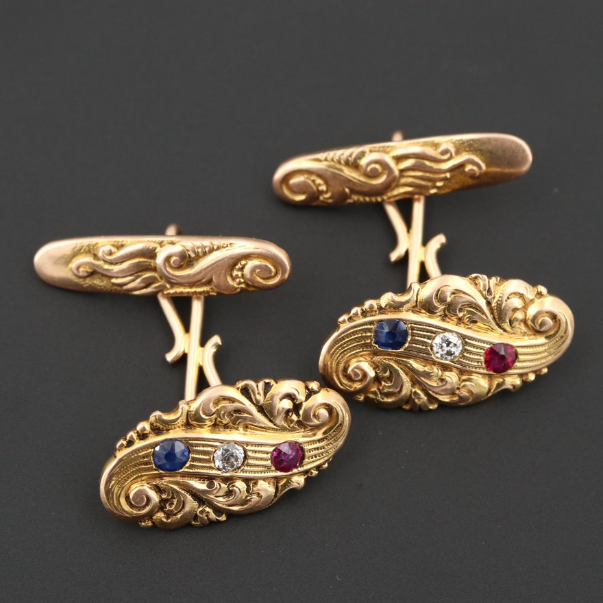 Art Nouveau Shreve & Co. 14K Yellow Gold Ruby, Sapphire and Diamond Cufflinks