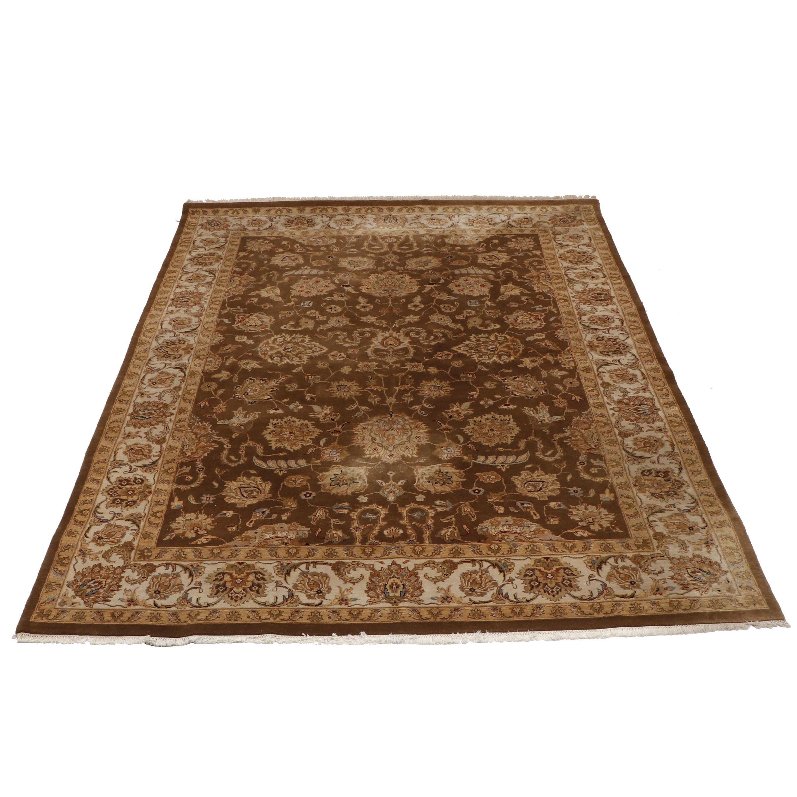 Hand-Knotted Indian Agra Wool Room Sized Rug