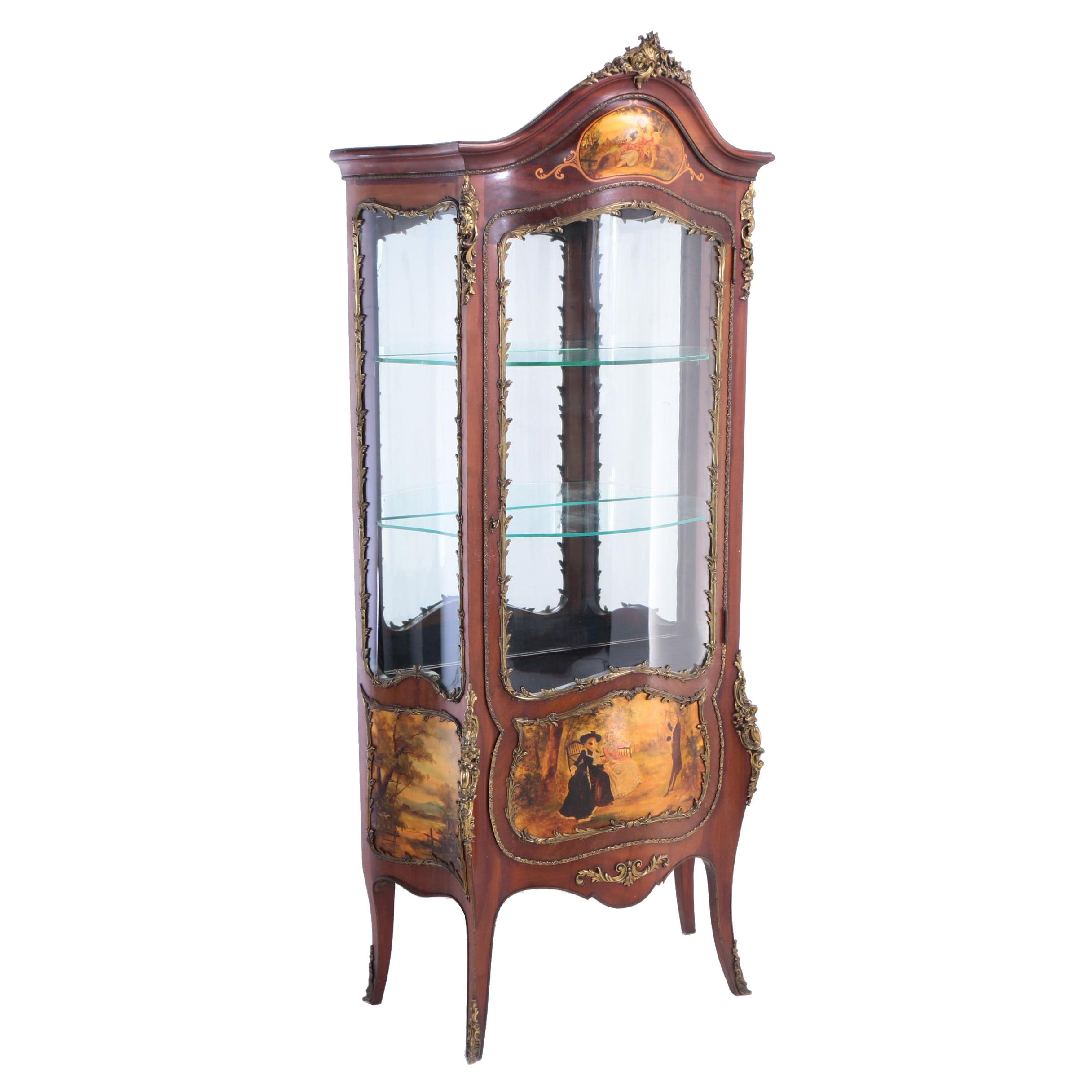 Louis XV Style Gilt-Metal Mounted and Vernis Martin-Decorated Vitrine