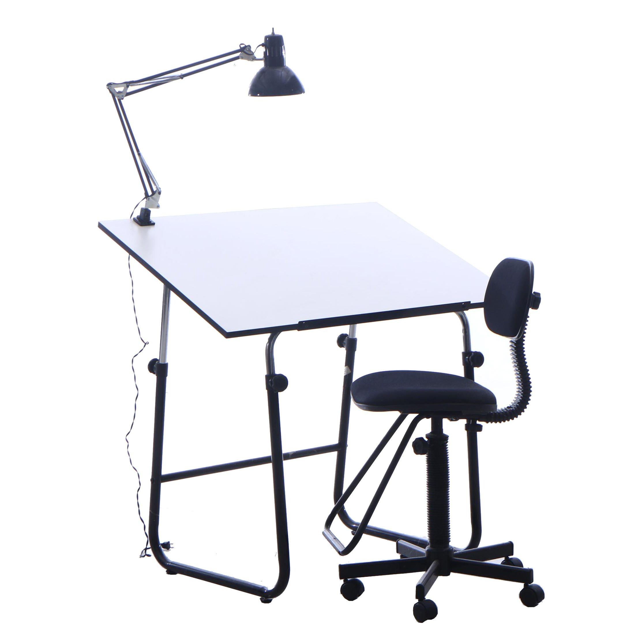 Studio Art Tilt Top Drafting Table, Desk Chair and Table Mount Directional Lamp