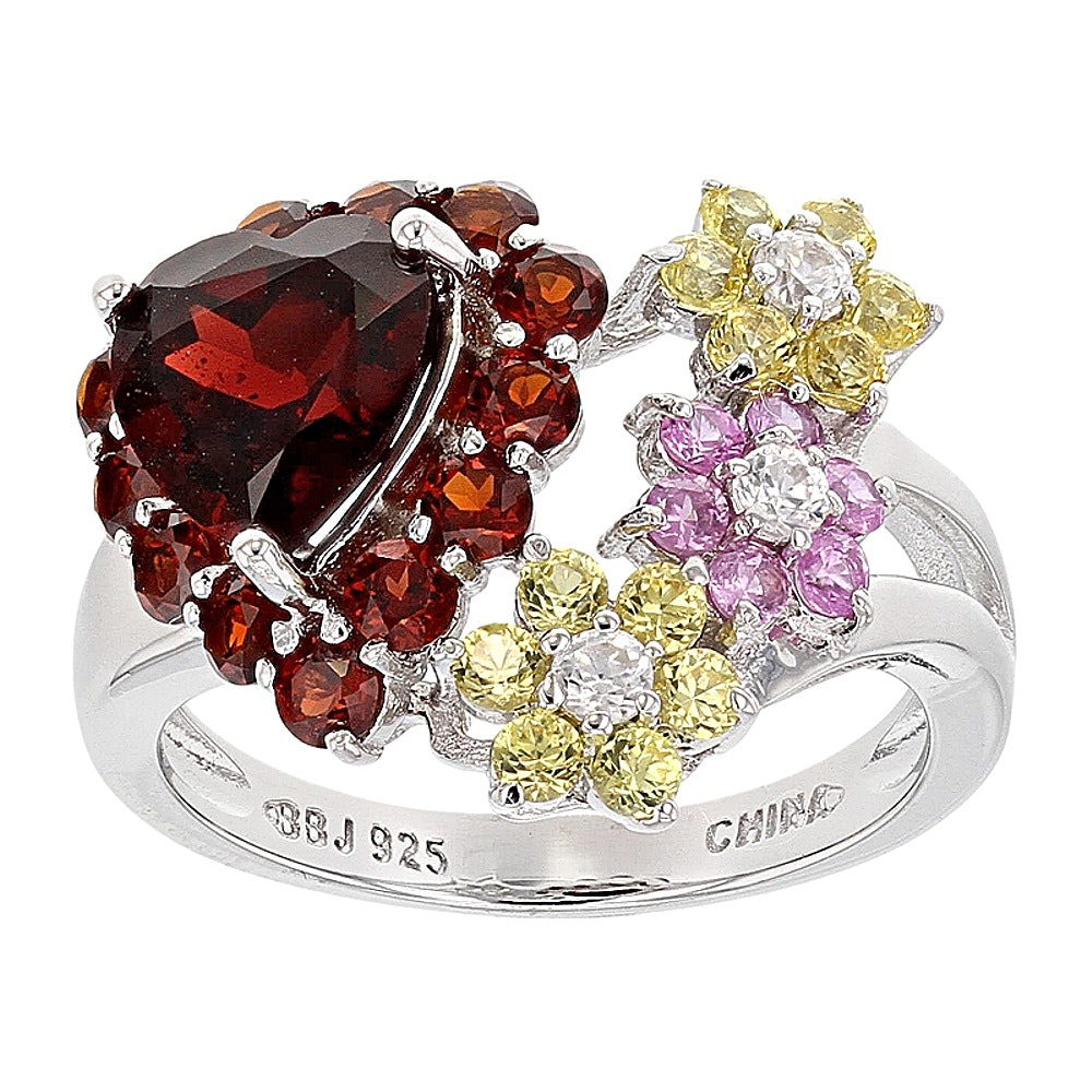 Sterling Silver Garnet, Sapphire and Zircon Ring