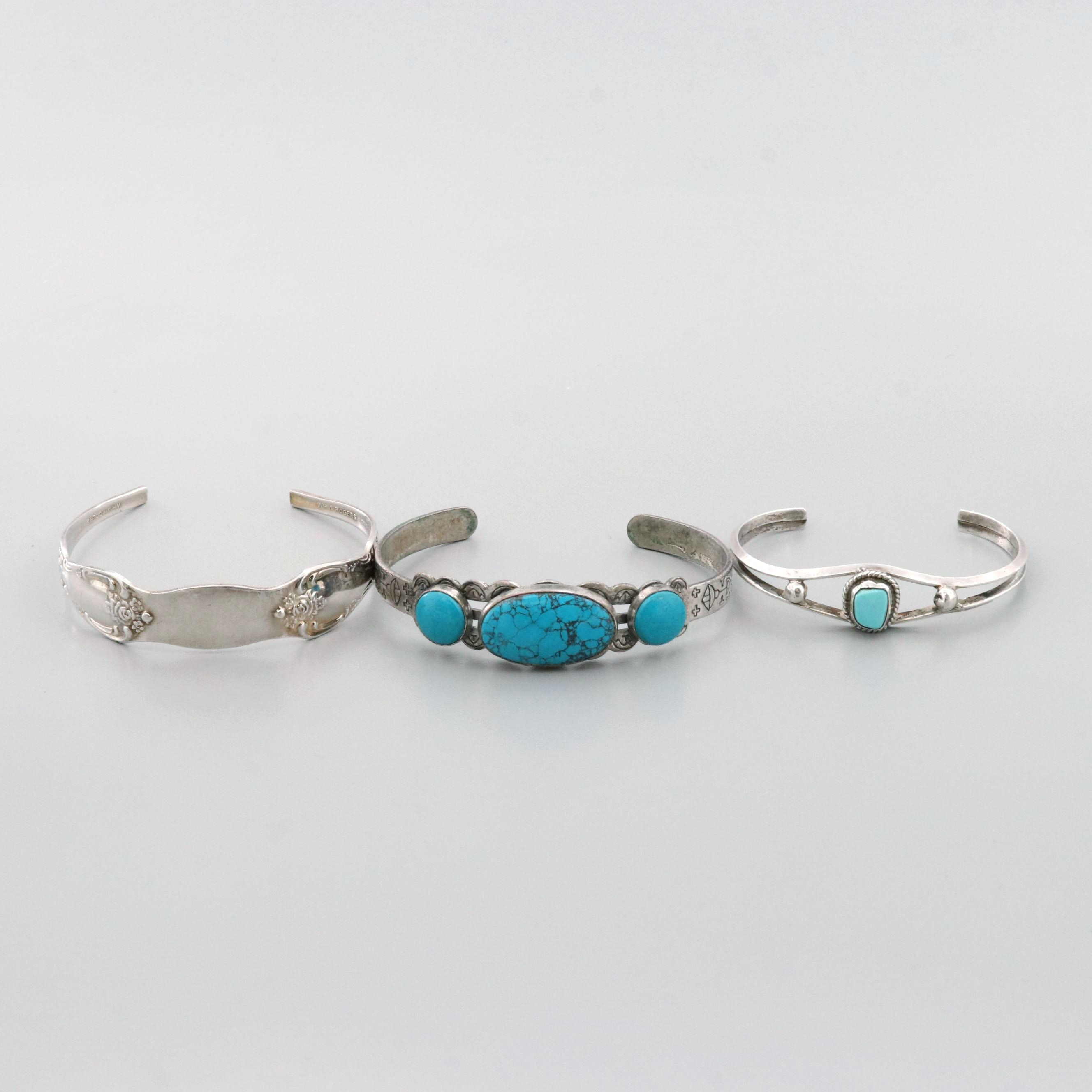 Sterling Silver and Silver Tone Imitation Turquoise and Turquoise Cuff Bracelets