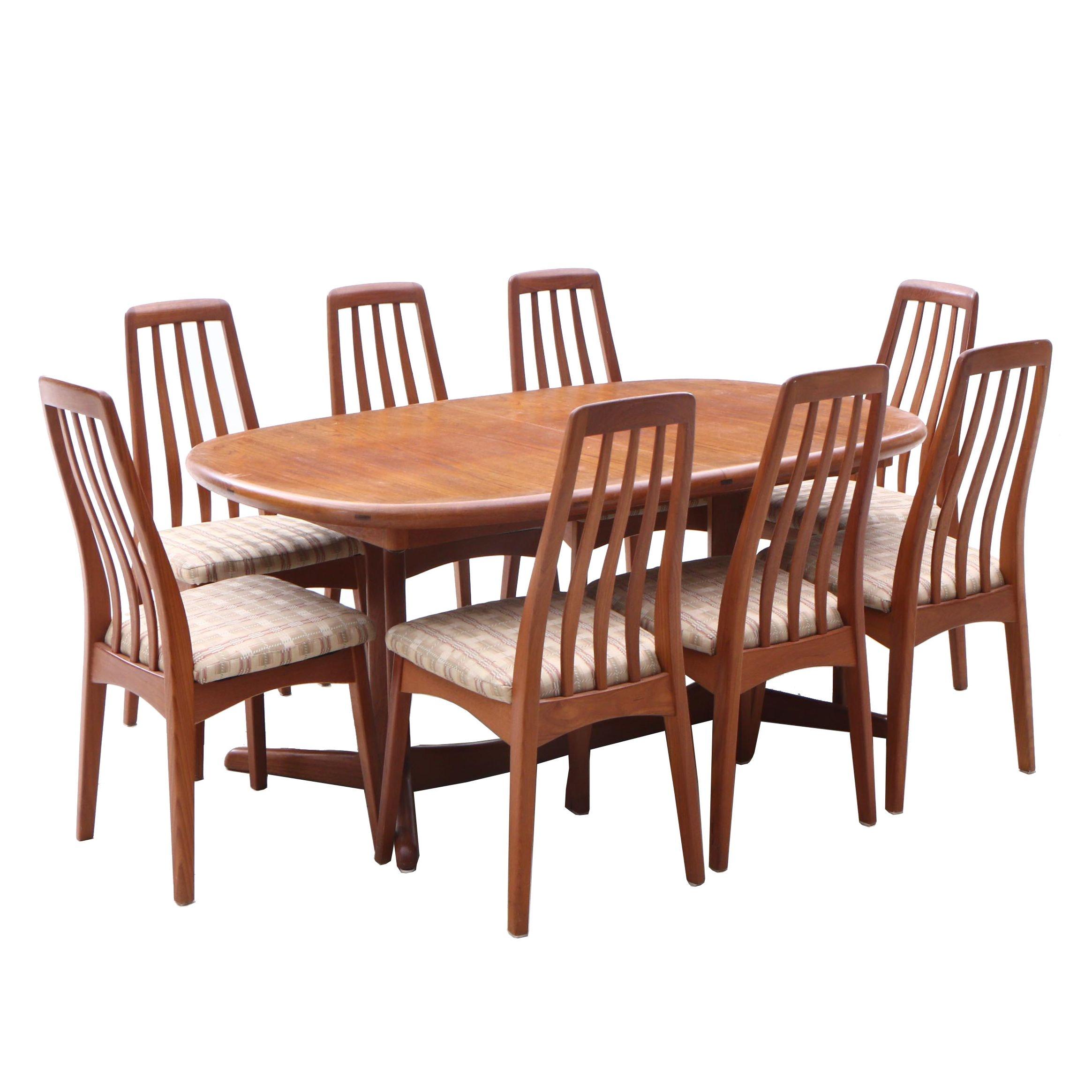 Mid Century Modern Style Teak Trestle Dining Set, Contemporary