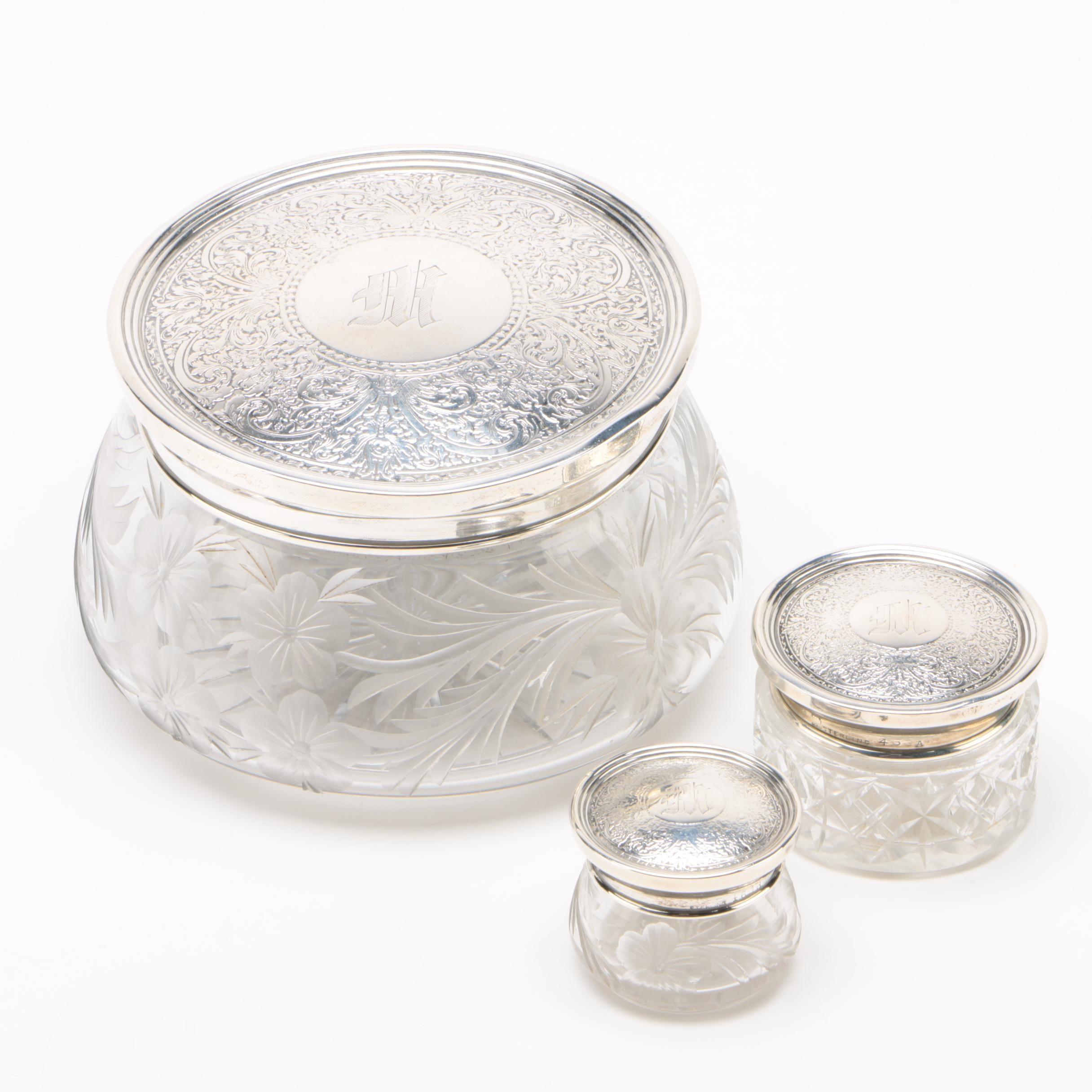 Meridan Britannia Co. Sterling and Cut Glass Vanity Jars
