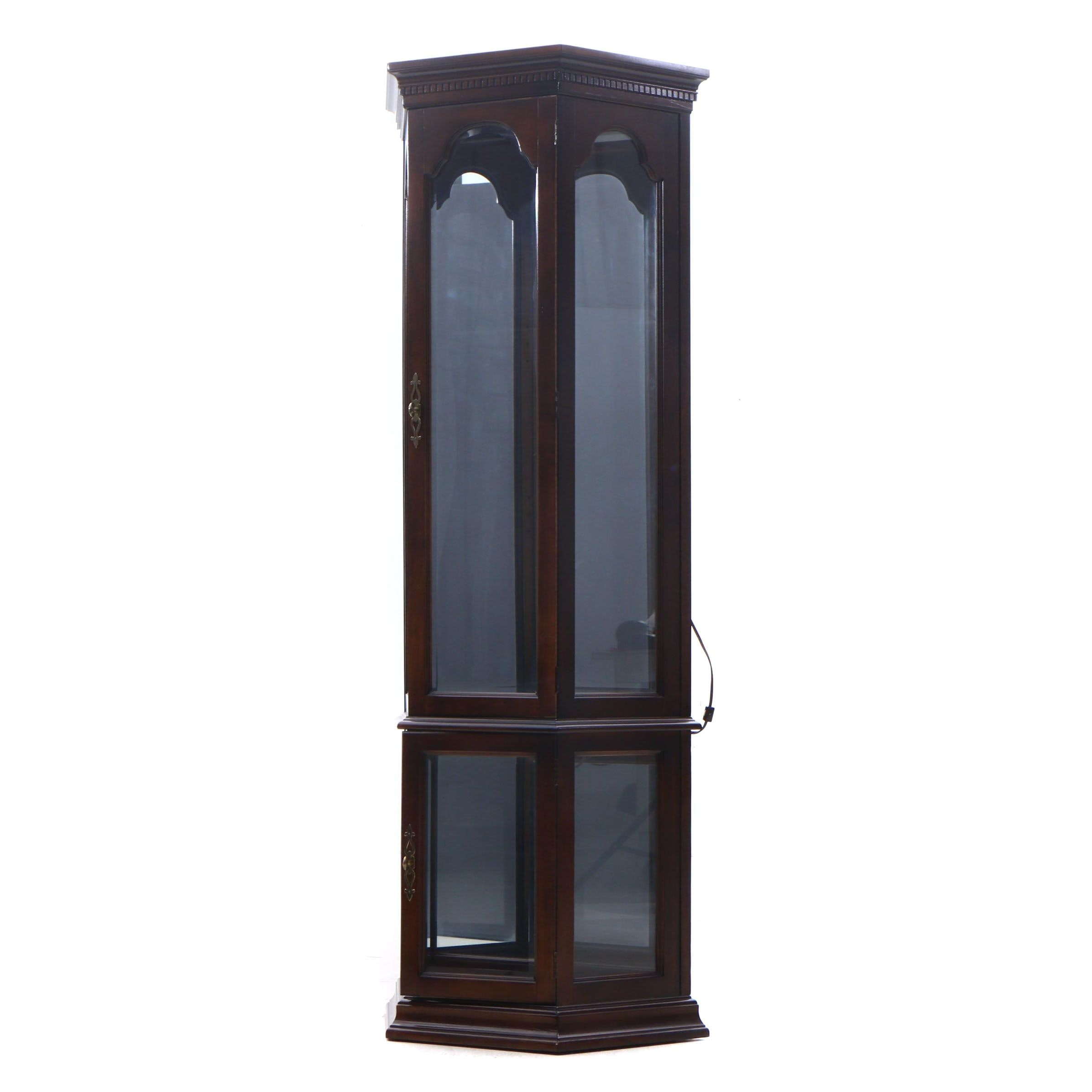 Contemporary Walnut Finish Mirrored Back Illuminated Curio Cabinet
