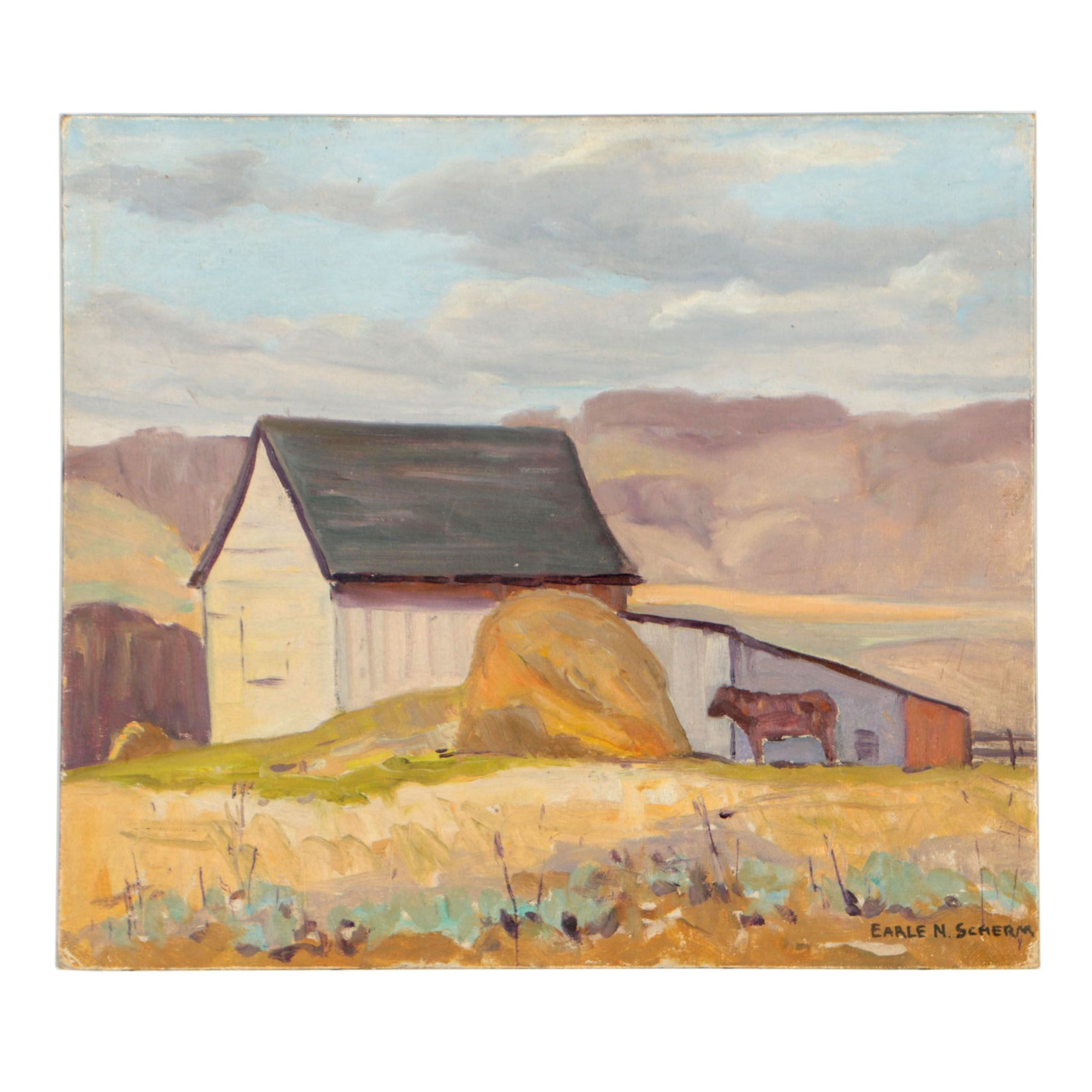 Earle N. Scherm Oil Painting of Rural Landscape