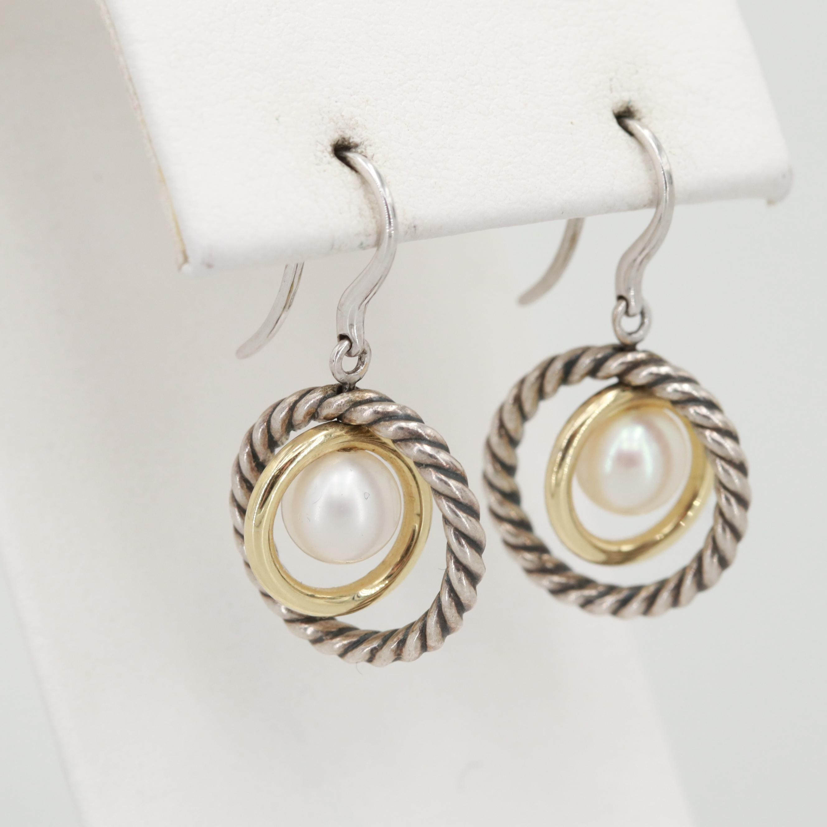 David Yurman Sterling Silver Cultured Pearl Dangle Earrings with 14K Accents