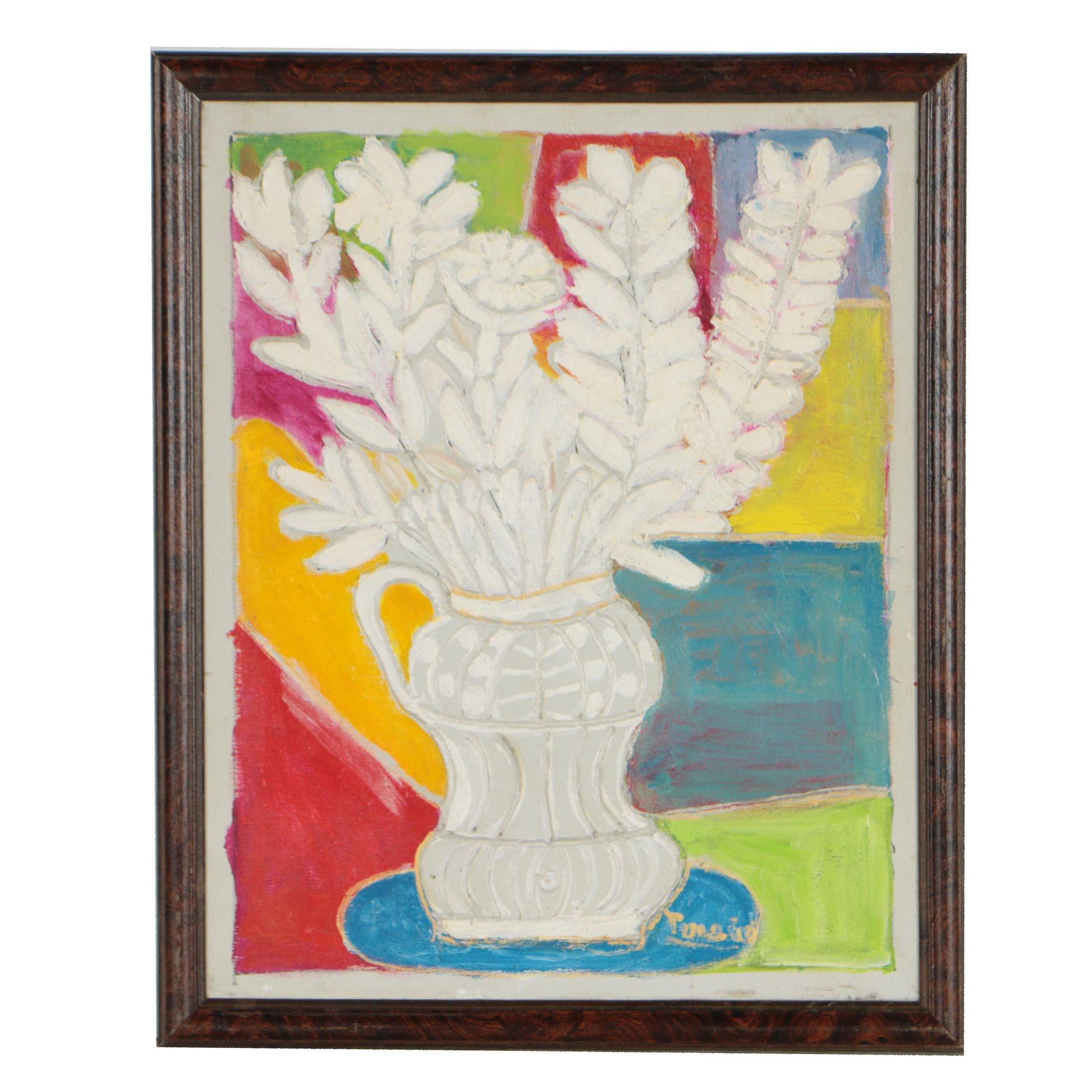 Charles Tullio Abstract Acrylic Painting of Still Life