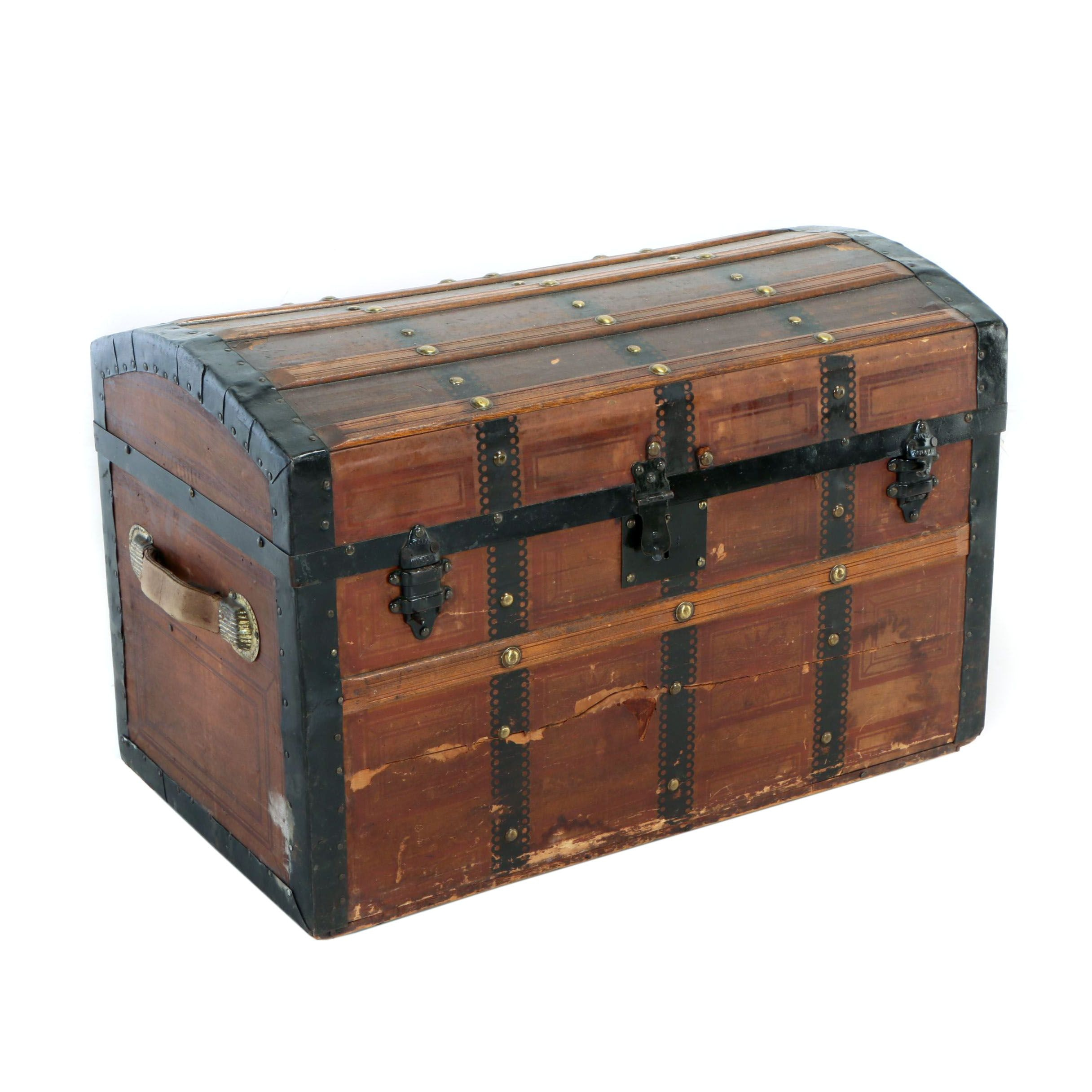 Paper-Decorated and Metal-Bound Wooden Dome-Top Steamer Trunk, Late 19th Century