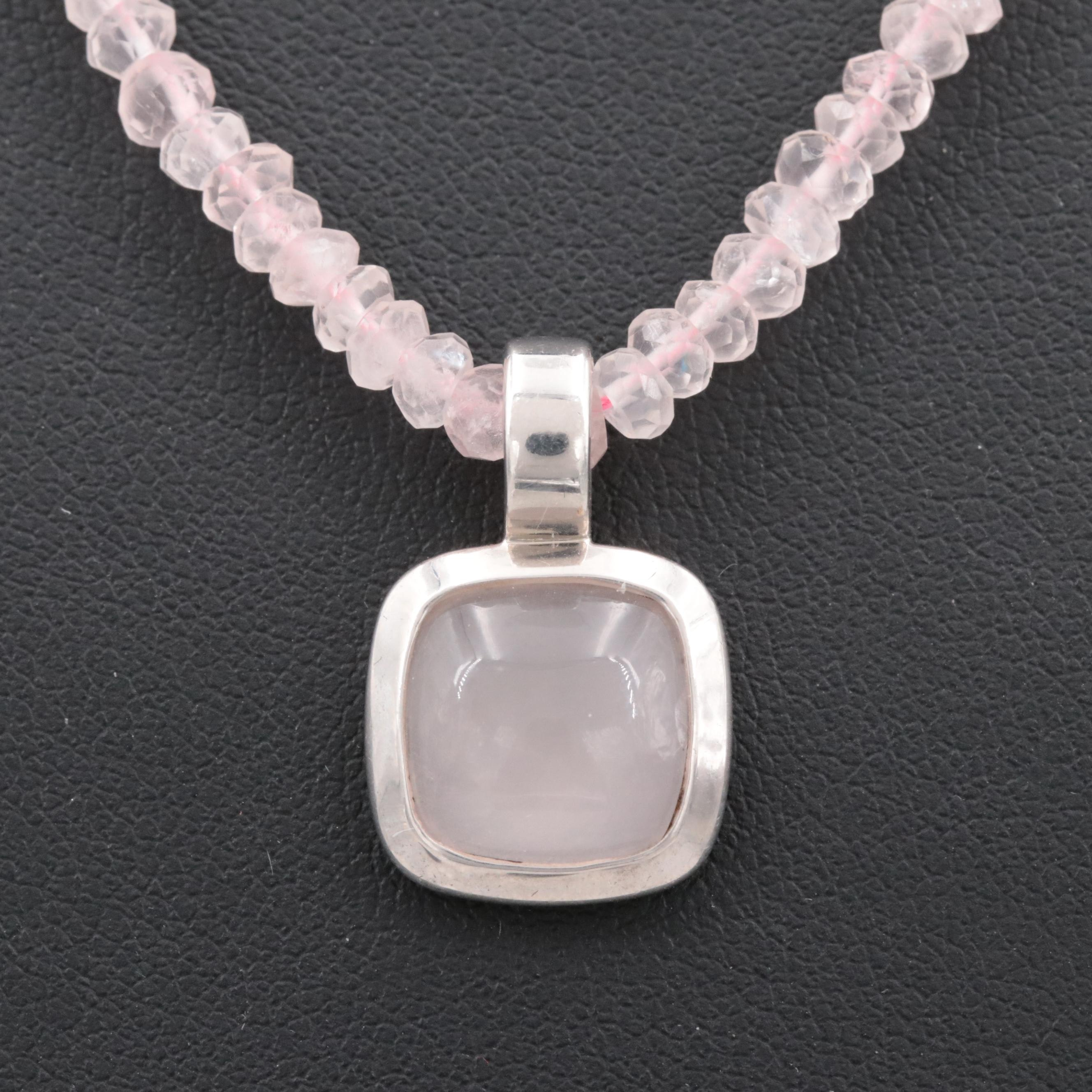 Sterling Silver Rose Quartz Beaded Pendant Necklace