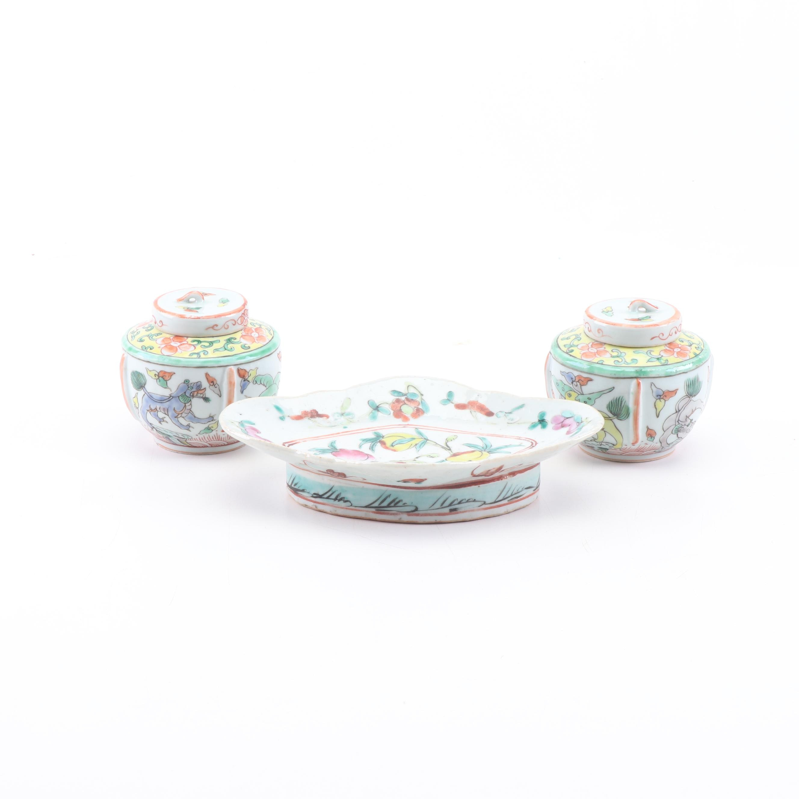 Chinese Hand-Painted Porcelain Pedestal Bowl and Wucai Lidded Jars