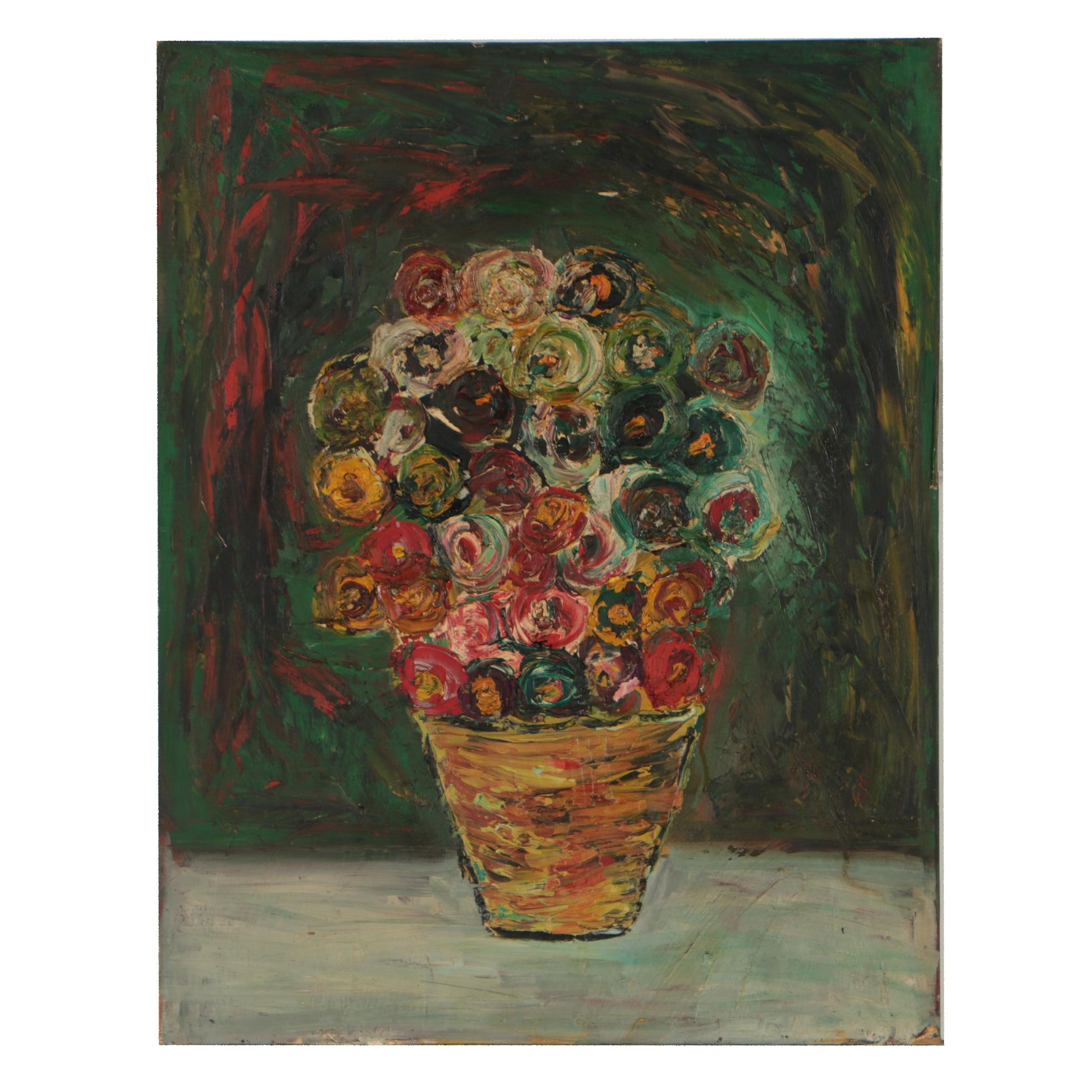 Charles Tullio Abstract Oil Painting of Floral Still Life