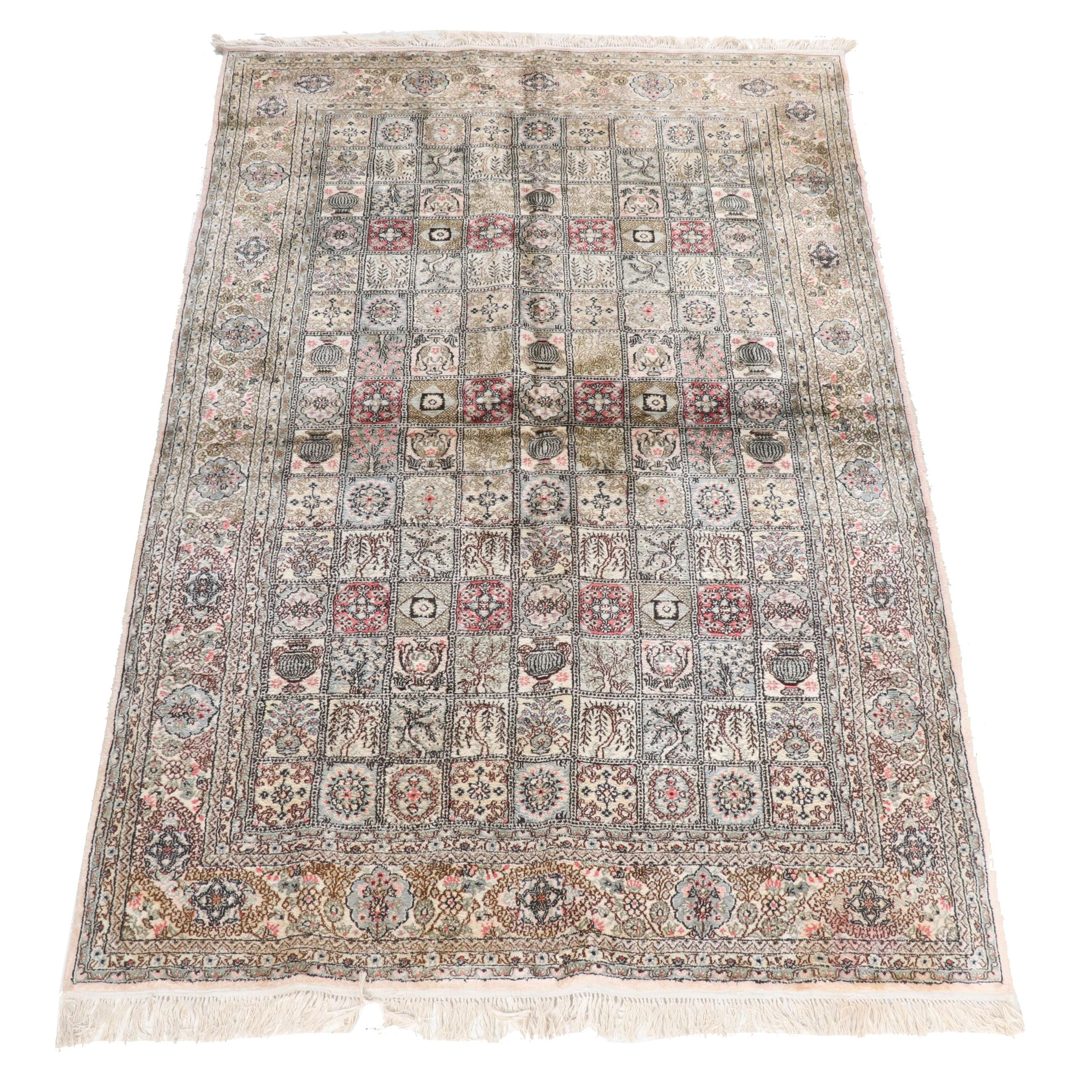 Hand-Knotted Indo-Persian Bakhtiari Style Artificial Silk Rug