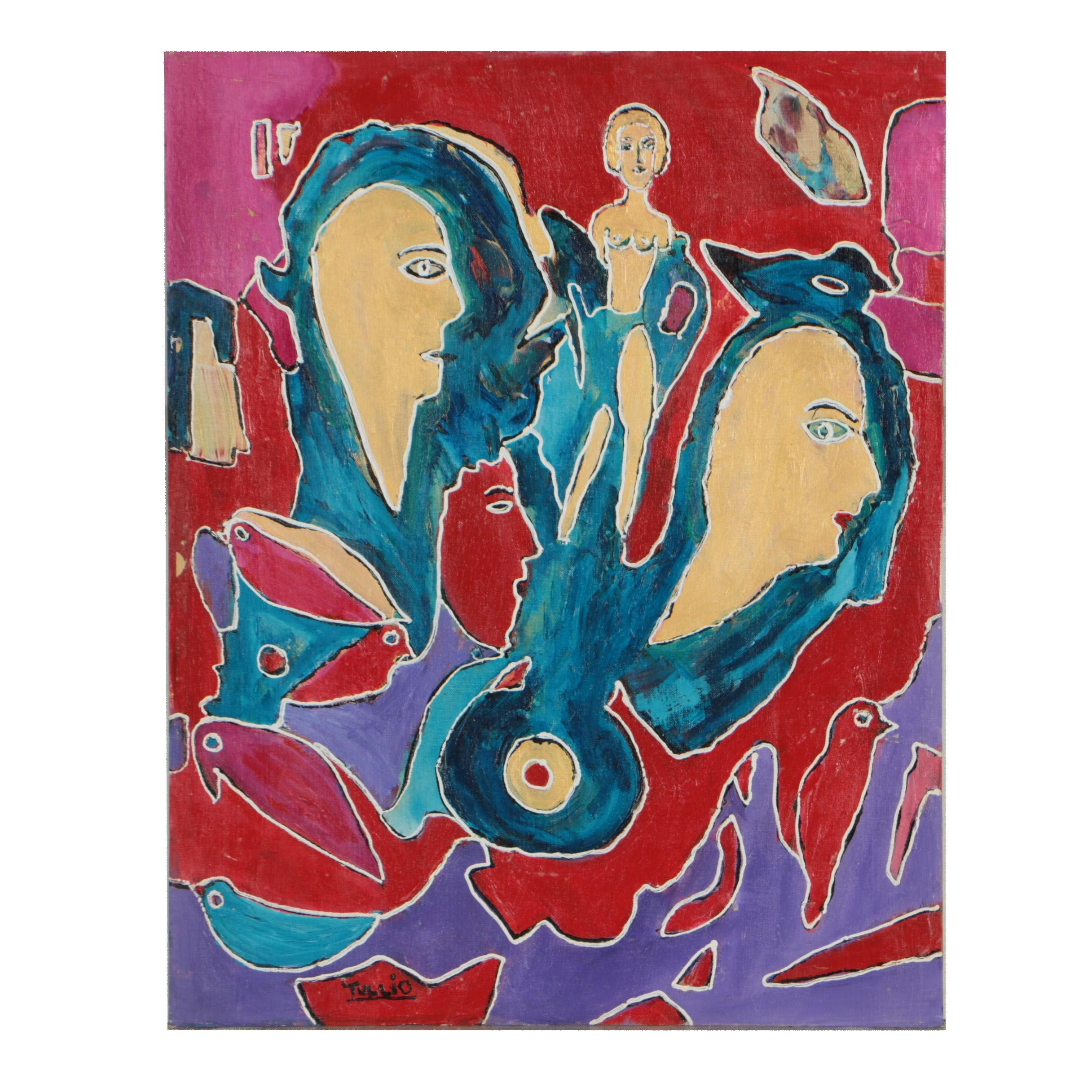 Charles Tullio Acrylic Painting of Abstract Figures