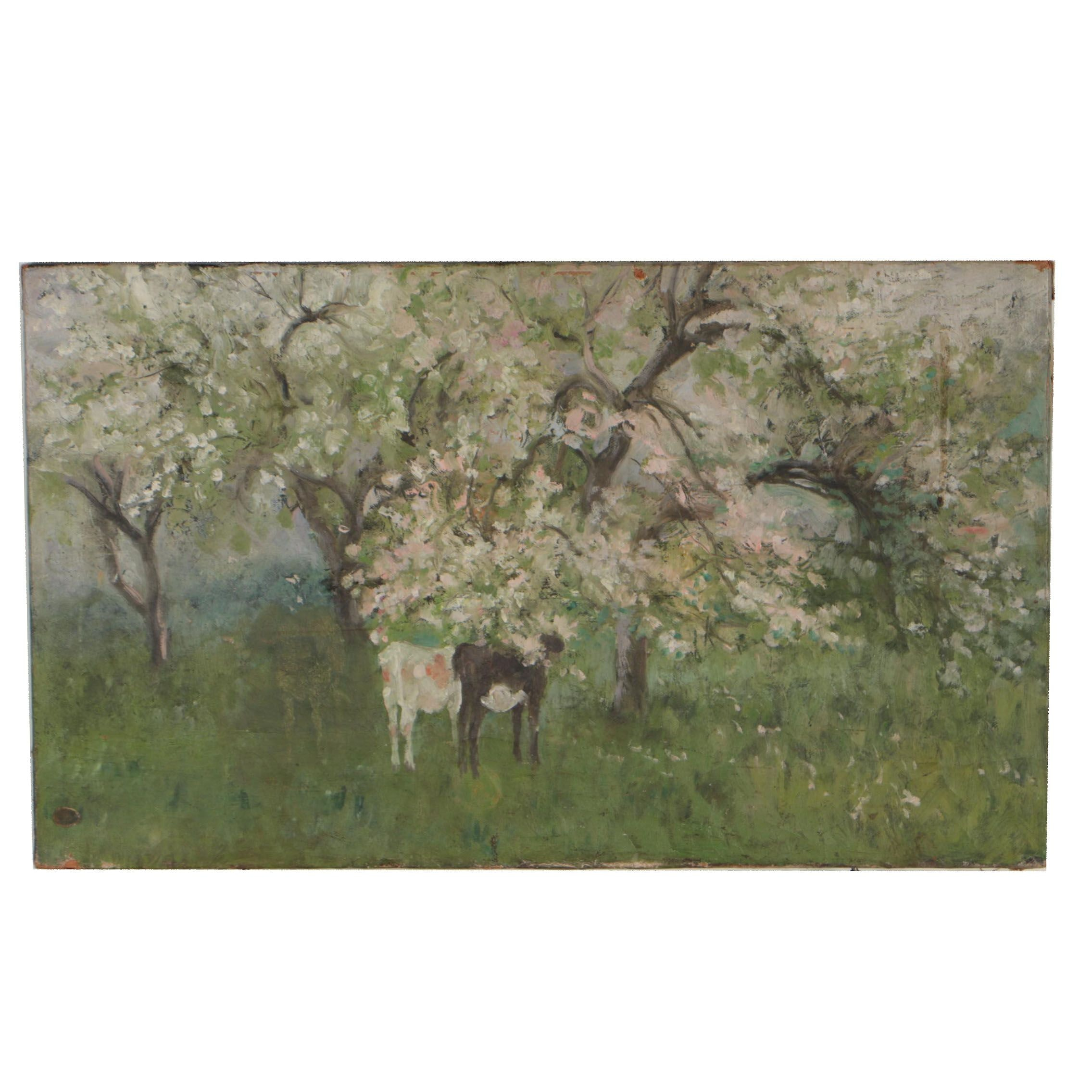 Late 19th Century Oil Painting of Flourished Pastoral Landscape