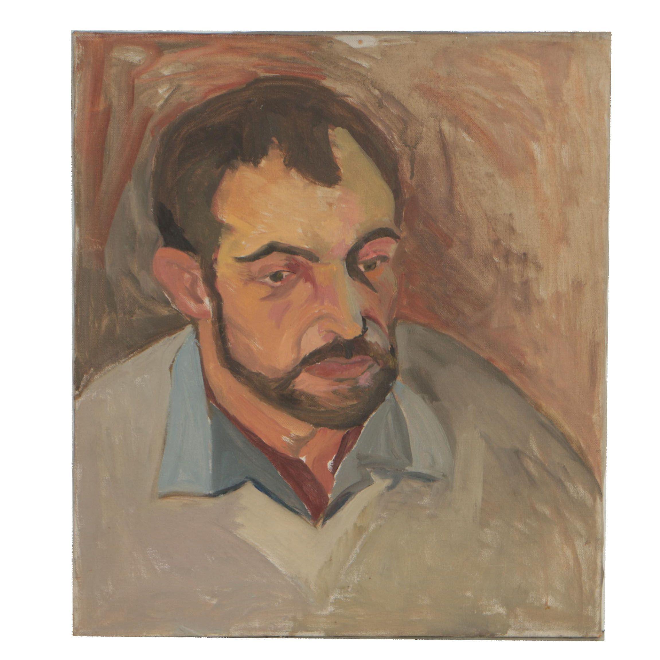 Late 20th Century Oil Portrait of Pensive Man