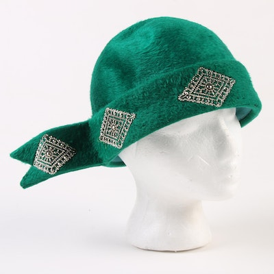 c629971d219 Yves Saint Laurent Cloche Hat in Felted Fur with Silver Tone Medallions,  1960s