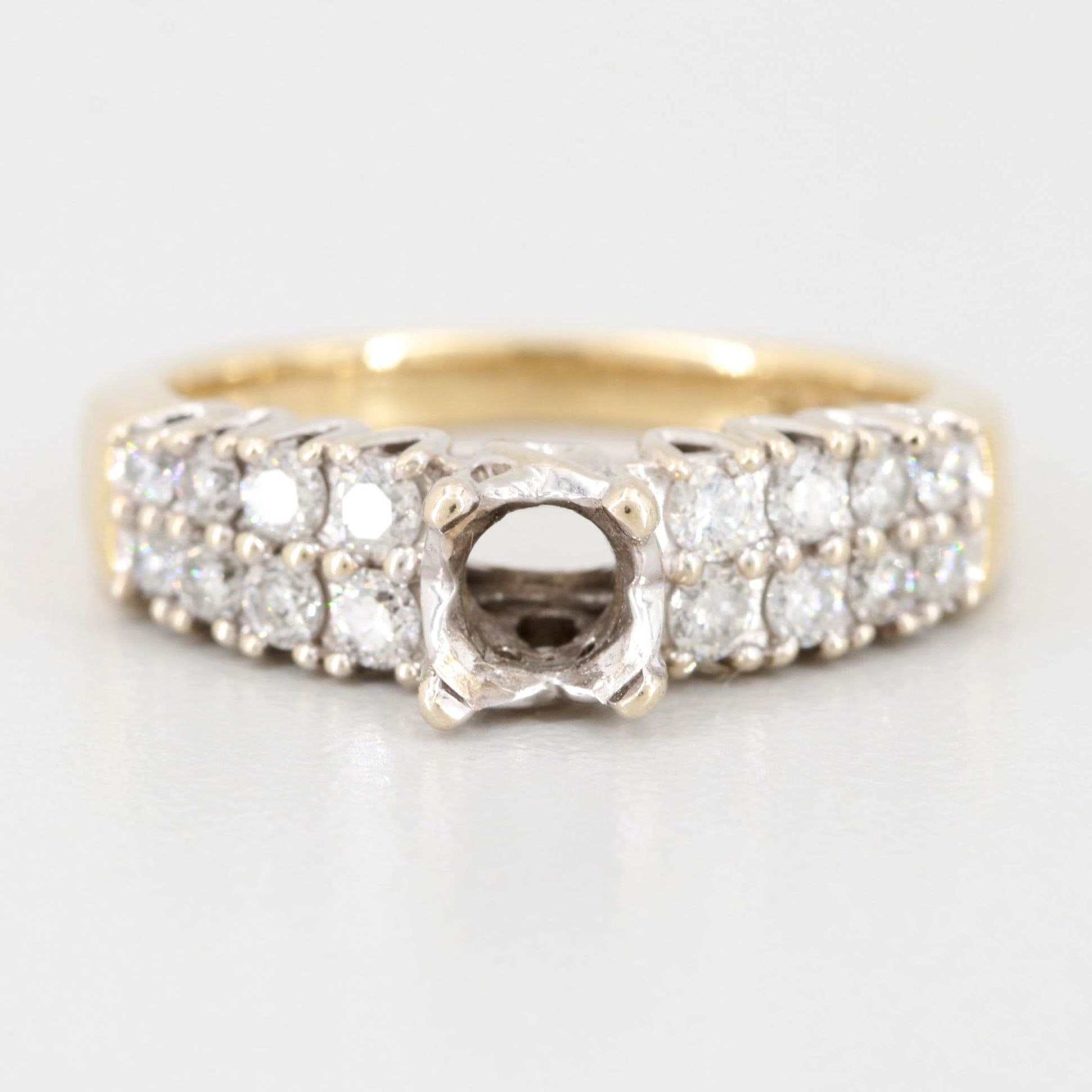 14K Yellow Gold Semi-Mount Diamond Ring with White Gold Accents