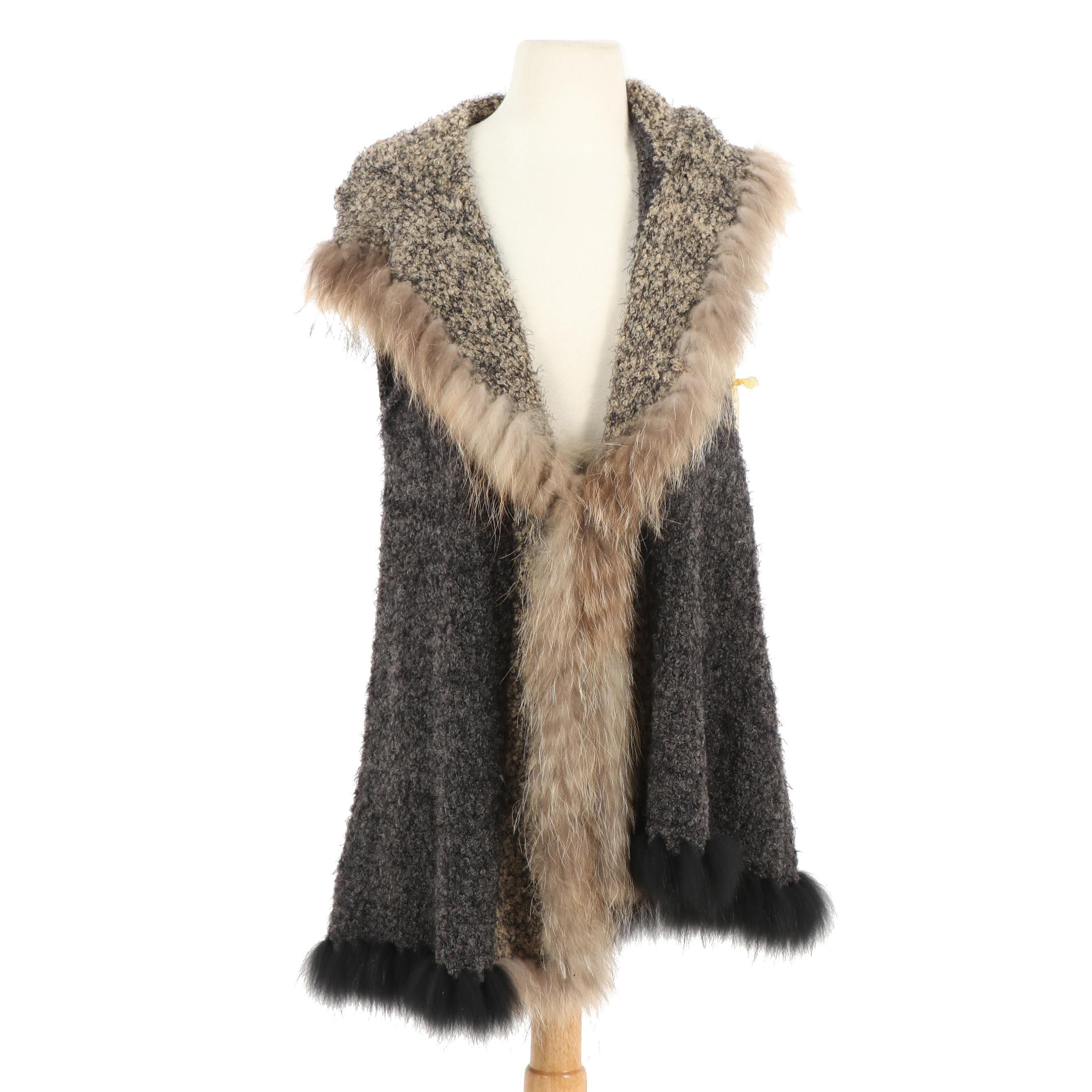 Metric Knits Fur Collection Hooded Vest with Raccoon Fur Trim