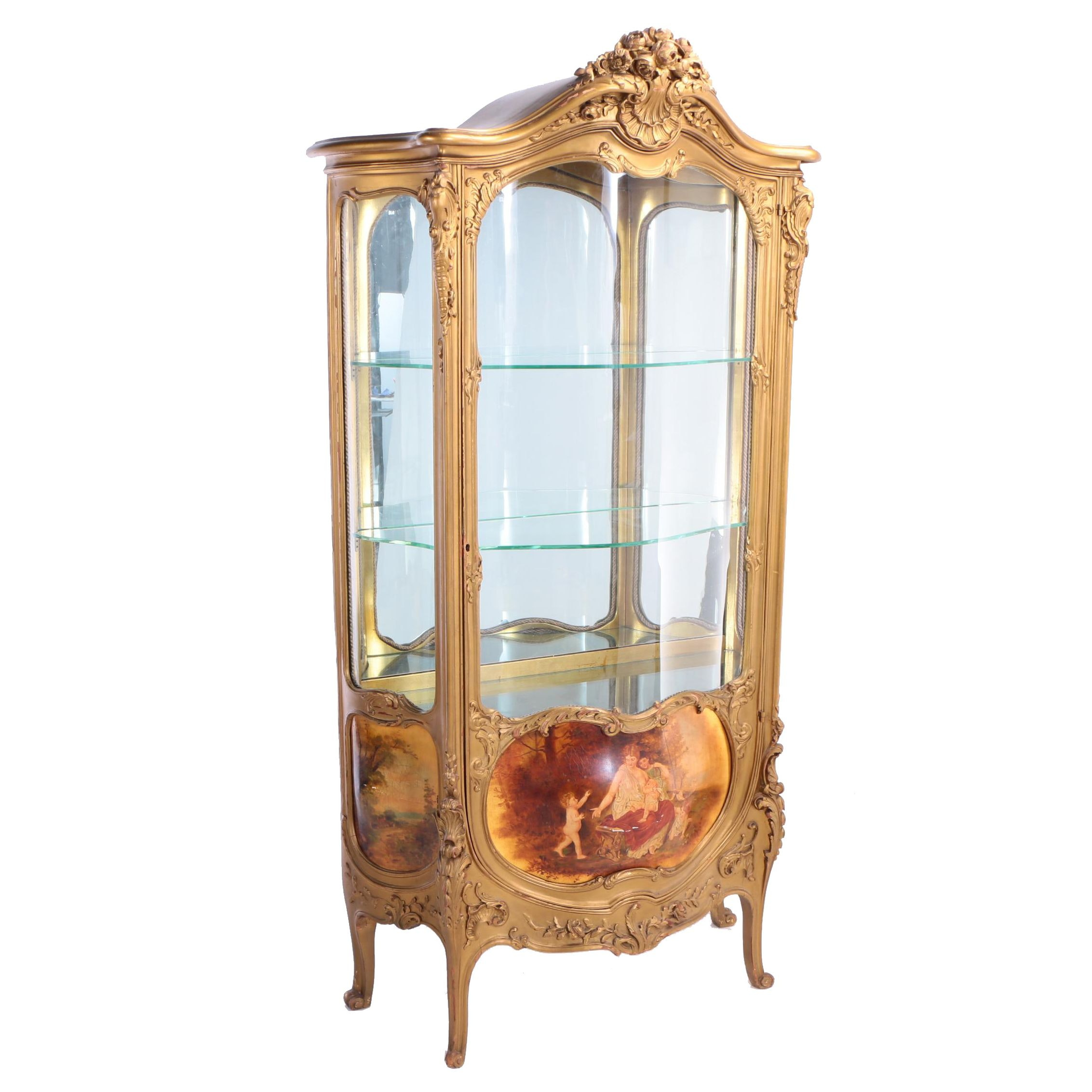 Louis XV Style Giltwood and Vernis Martin-Decorated Vitrine, Early 20th Century
