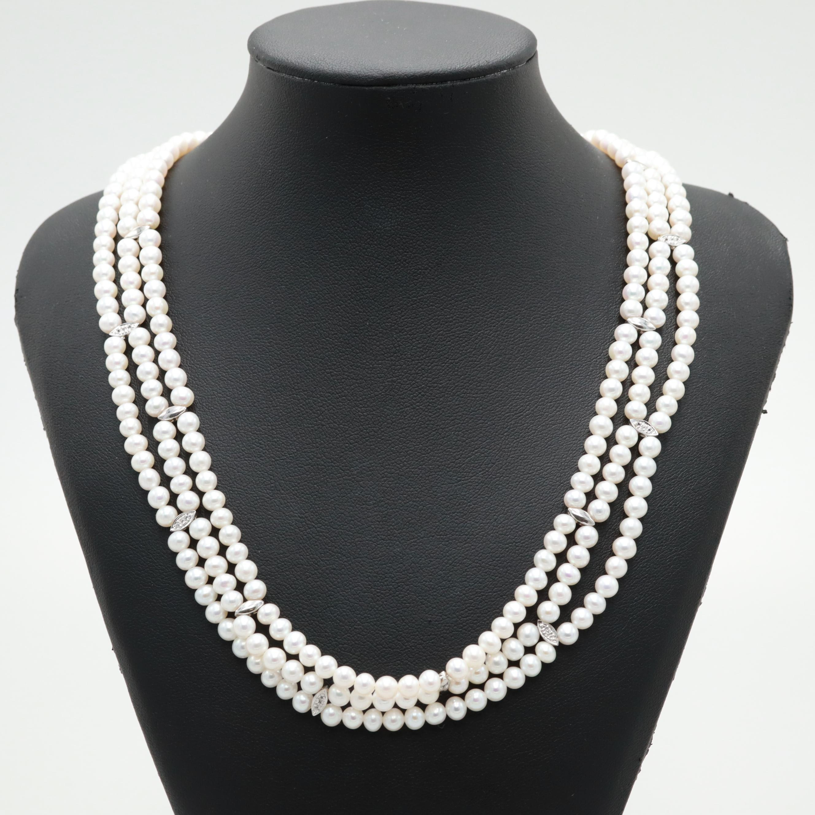 Sterling Silver Triple Strand Cultured Pearl and White Sapphire Beaded Necklace
